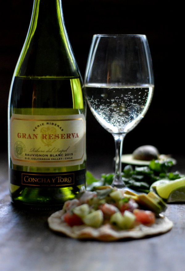 Concha y Toro Gran Reserva Sauvignon Blanc makes an amazing pairing to shrimp ceviche tacos| CaretoPair.com