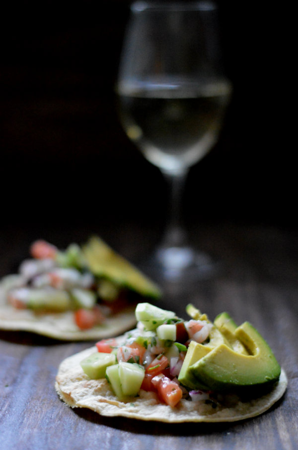 Easy Shrimp Ceviche Tacos make this favorite South American condiment into a perfect meal. Pair with a refreshing Chilean Sauvignon Blanc | CaretoPair.com