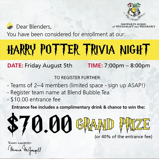 Harry Potter Trivia Event