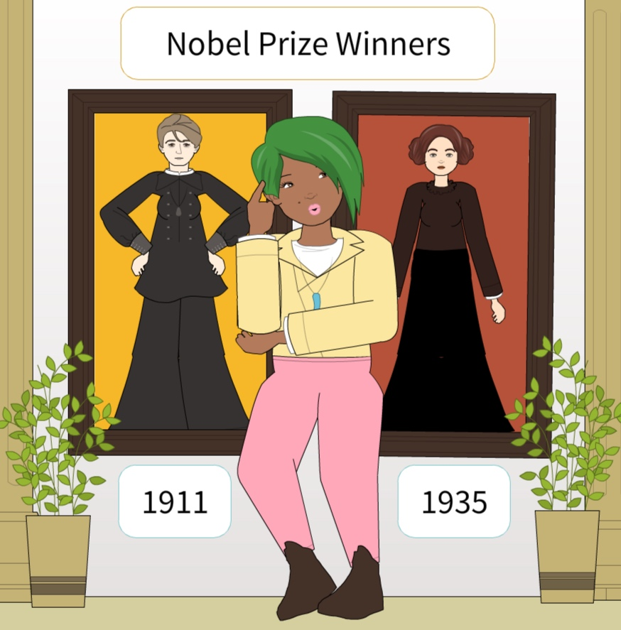 Shirley is in a hall full of Nobel laureates, and finds a mother-daughter duo that each won for Chemistry in separate years-- 1911 and 1935! She counts each year from 1911 until 1935 inclusive, taking as many seconds as the largest power of 2 which divides that year.  For example, if a year is odd, she takes 1 second. If a year is divisible by 2 but not by 4, she takes 2 seconds. If a year is divisible by 4 but not by 8, she takes 4 seconds.  How long does it take her to count all of the years?  Bonus Trivia Question: Who were the mother-daughter Nobel Prize winners?