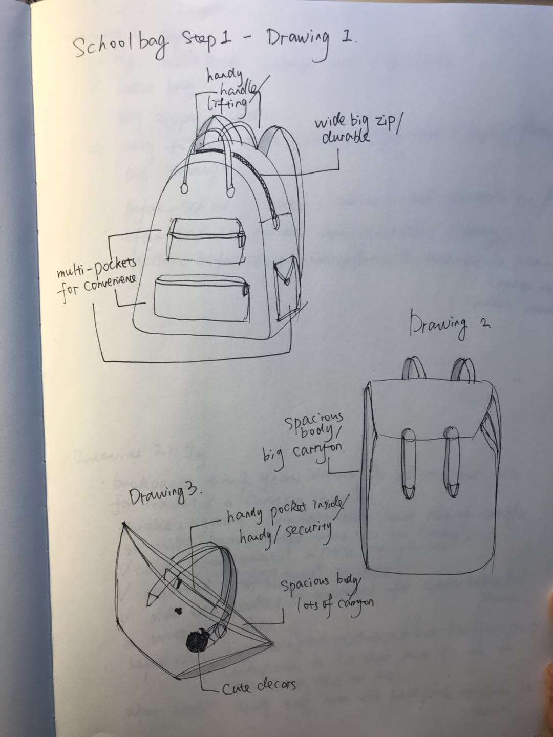 Step 1: ideation - I sketched possible solutions of a desired schoolbag that satisfying all the needs of a college student.