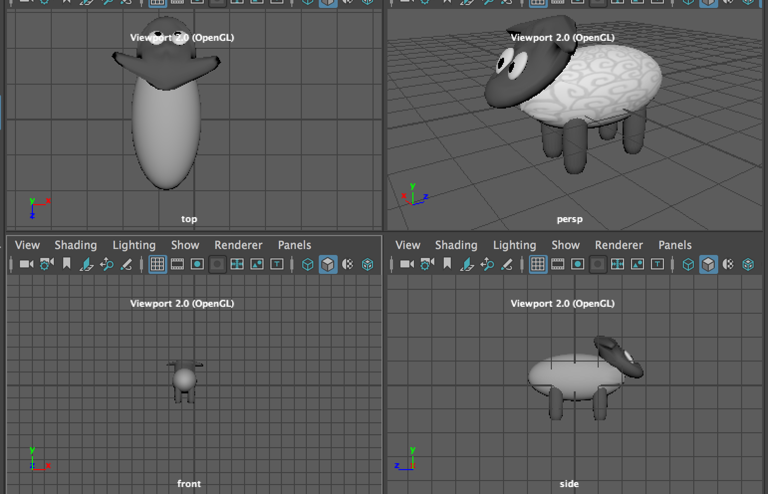 All sides view of the 3D sheep in Maya with OpenGL
