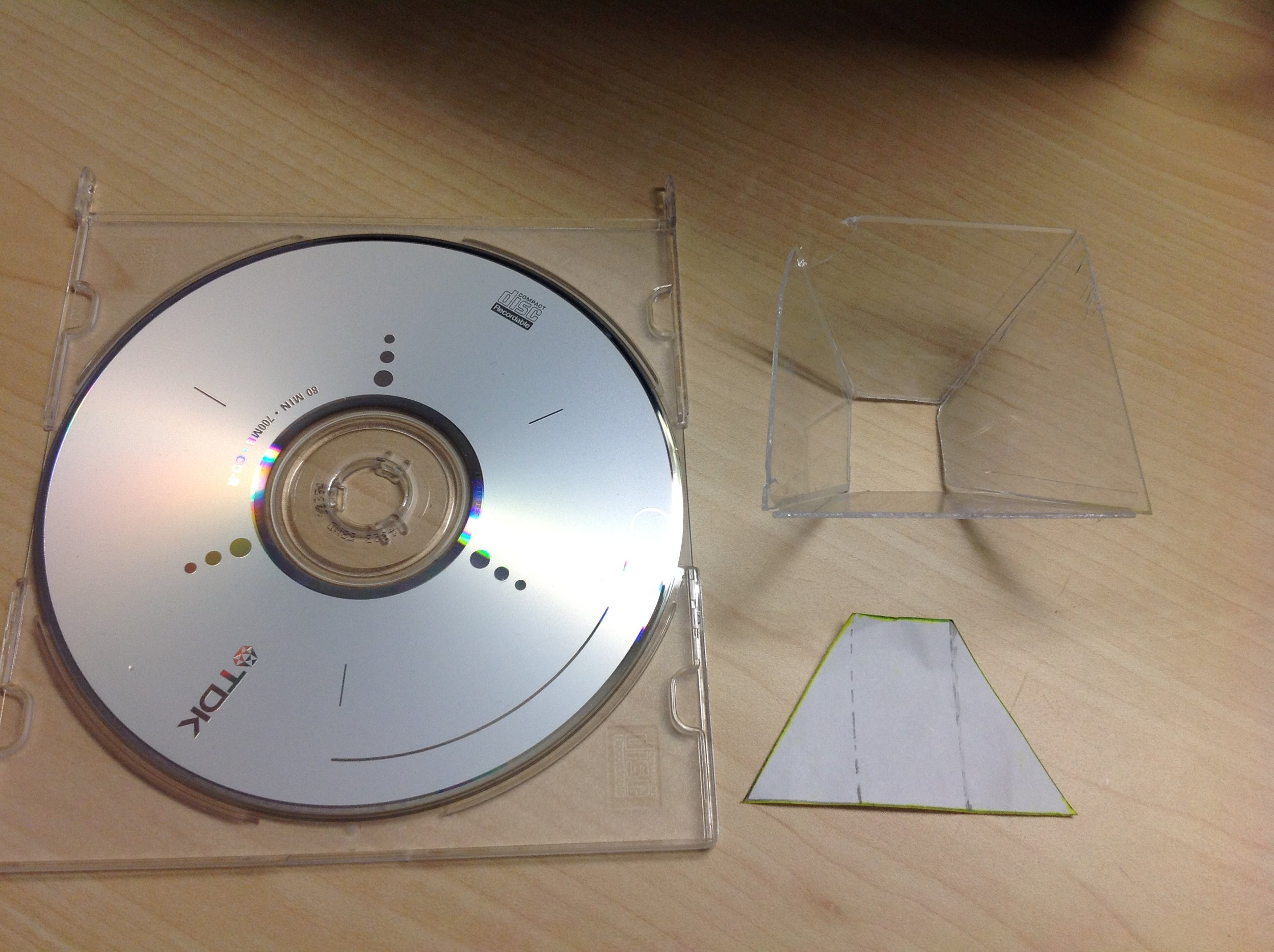 The disk case and the template I used to make the hologram.
