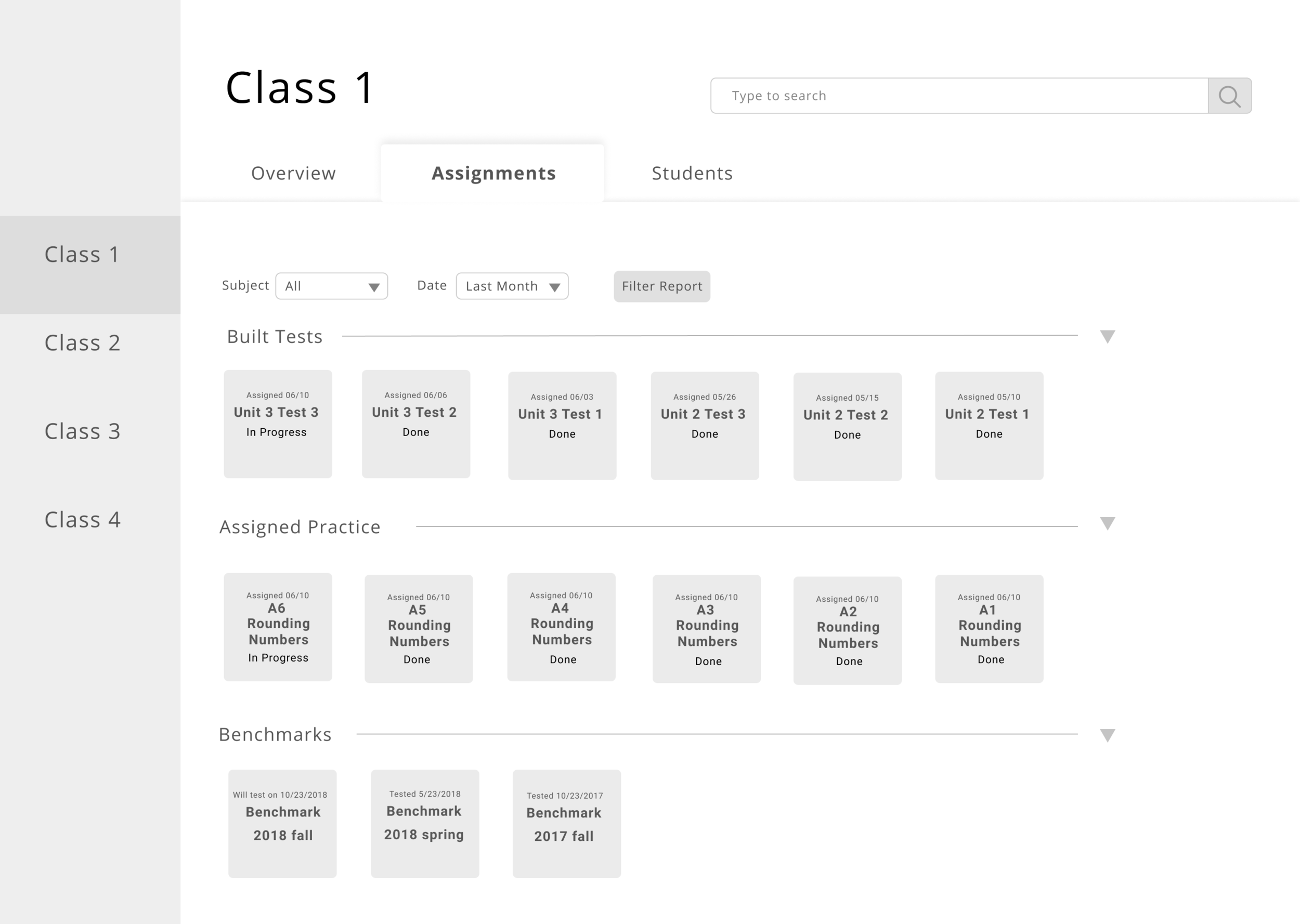 Assignments UI 1.0