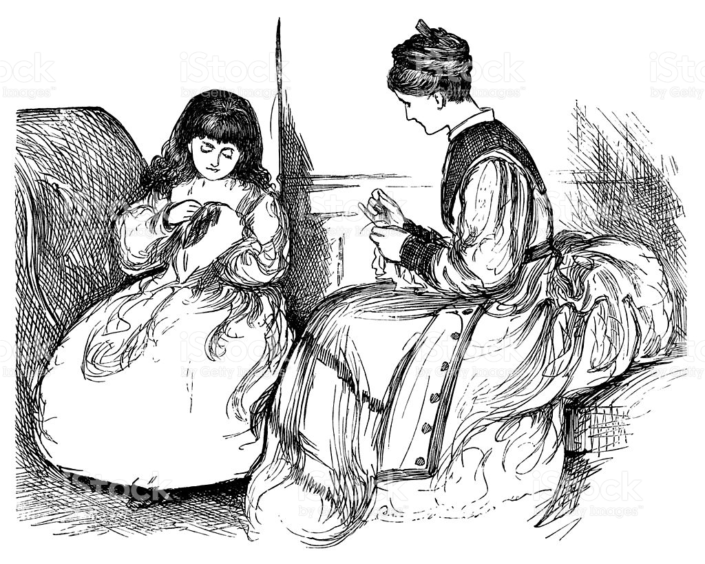https://media.istockphoto.com/illustrations/victorian-woman-and-child-sewing-illustration-id483419091