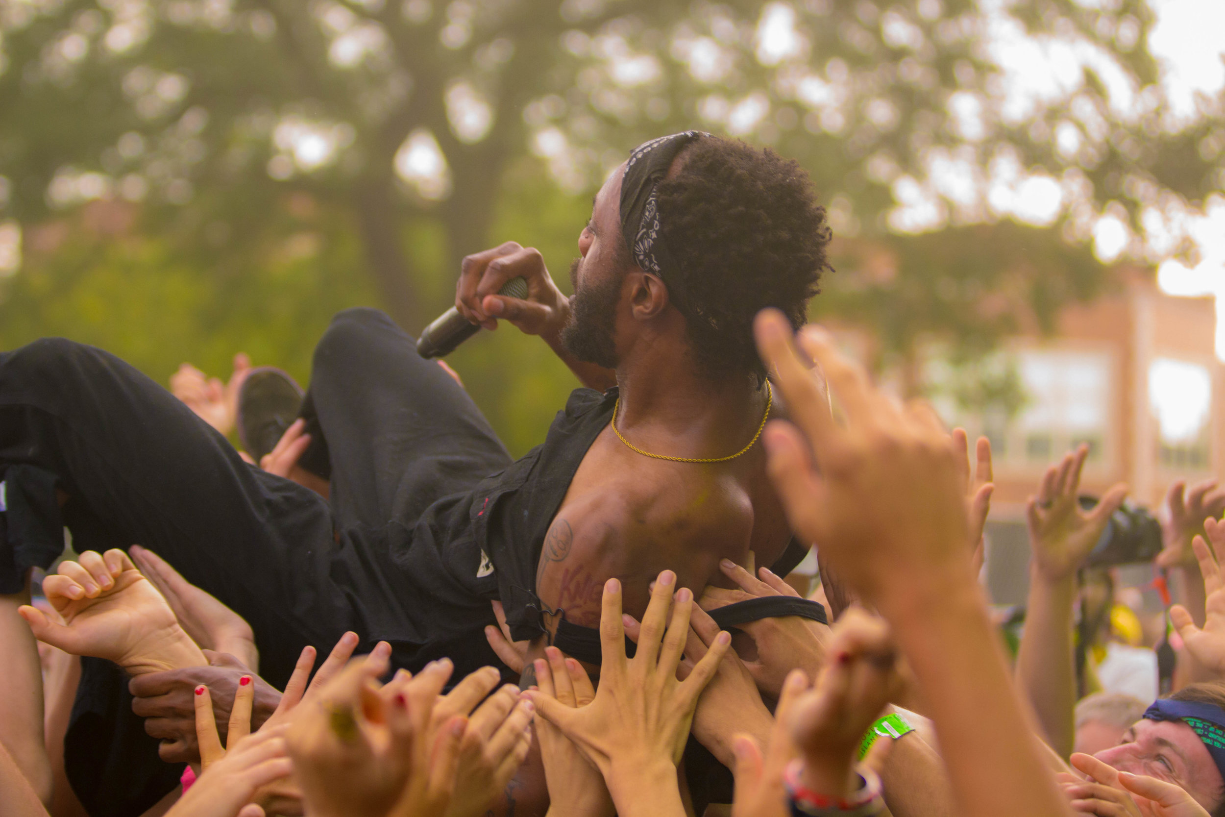 JPEGMAFIA on one of his many trips into the crowd
