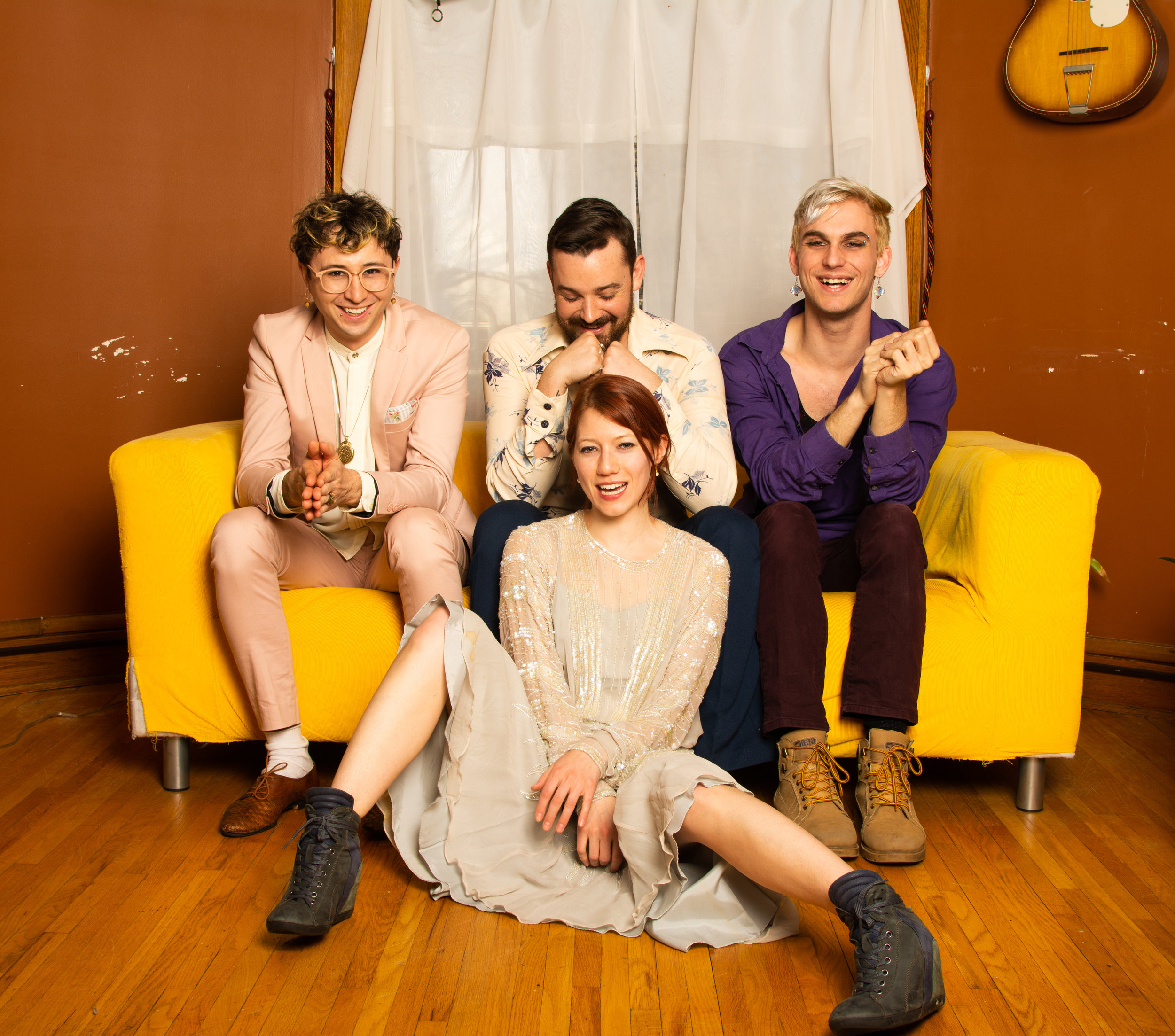 Photo by Chloe Krenz   . Lunch Duchess is:    Katharine Seggerman (she/her) - drums, vocals    Nicky Steves (he/them) - synths    Sam Frederick (they/them) - guitar    Matthew Sandstedt (he/him) - bass