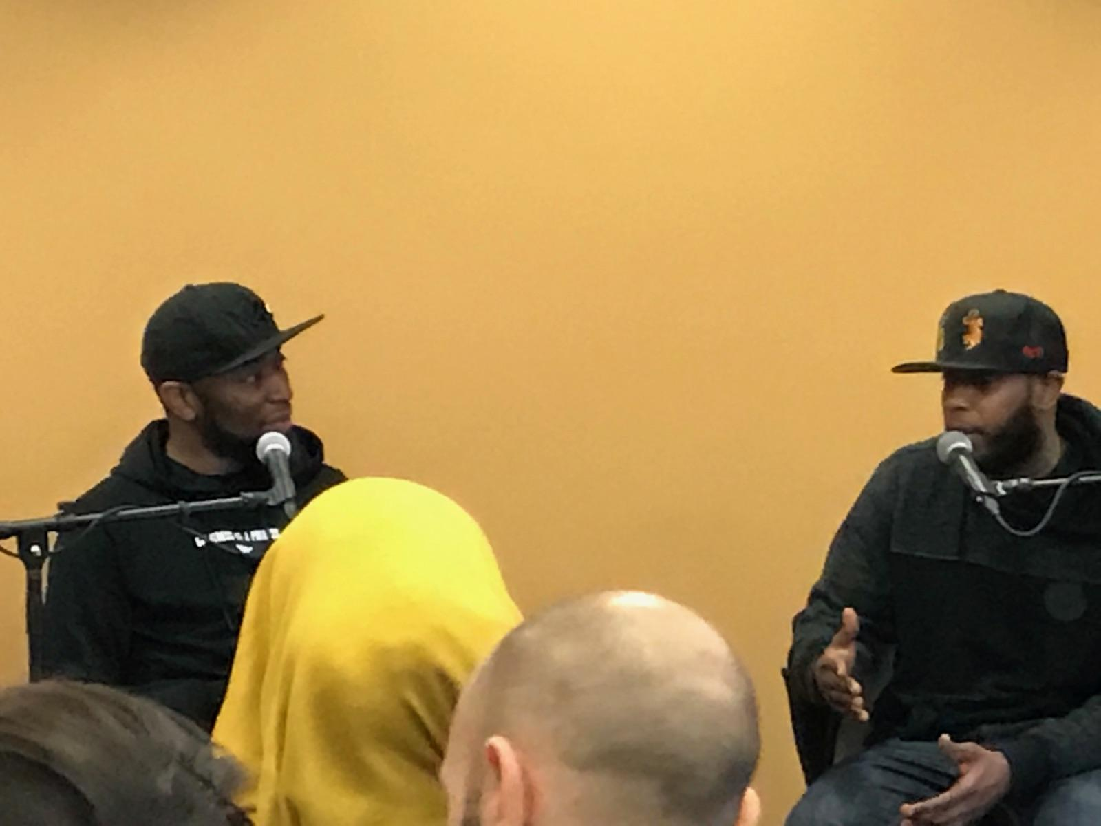 (Left to Right) 9th Wonder and Talib Kweli discussing his Rawkus Records.
