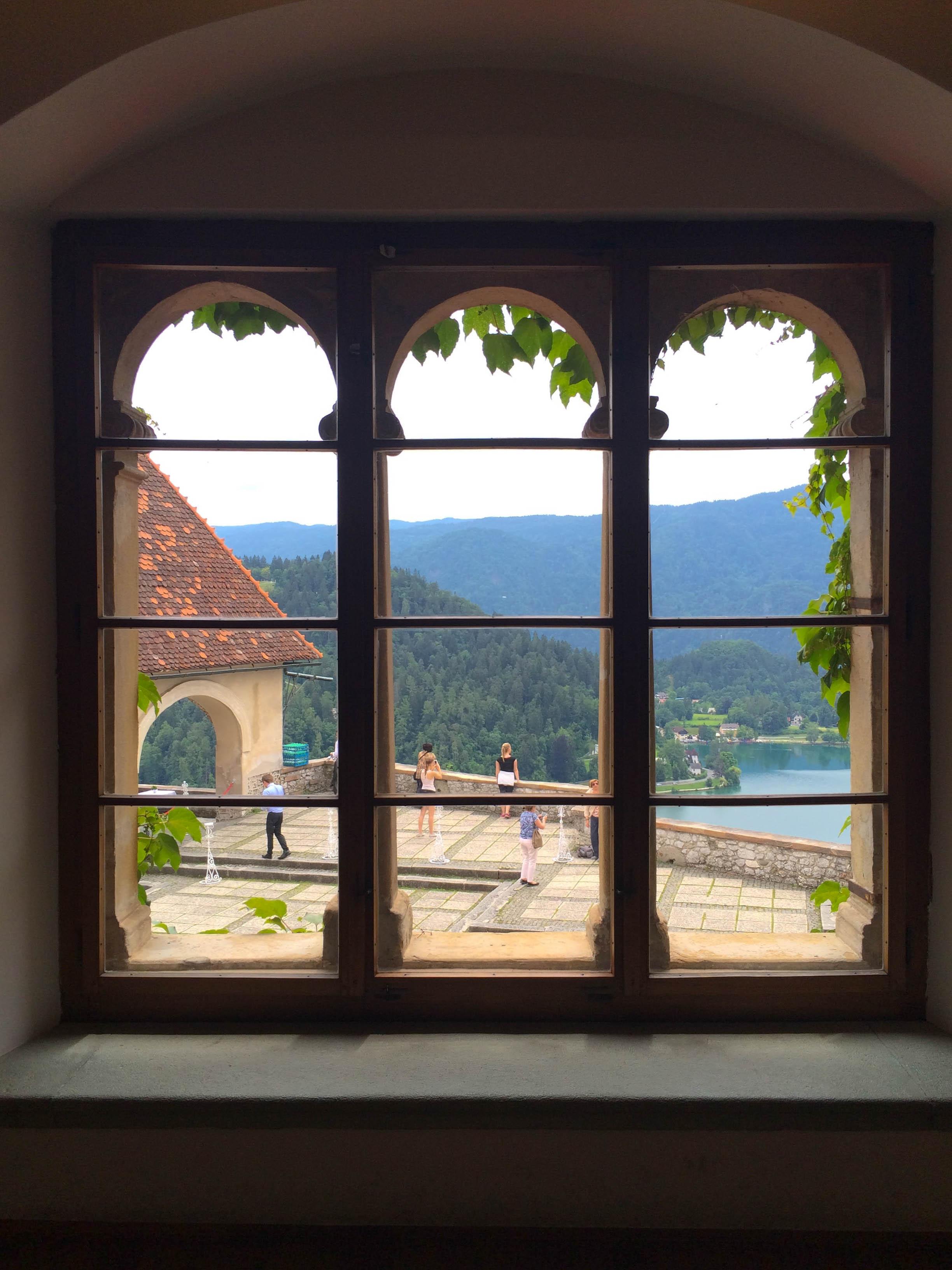 View from inside Blejski Grad