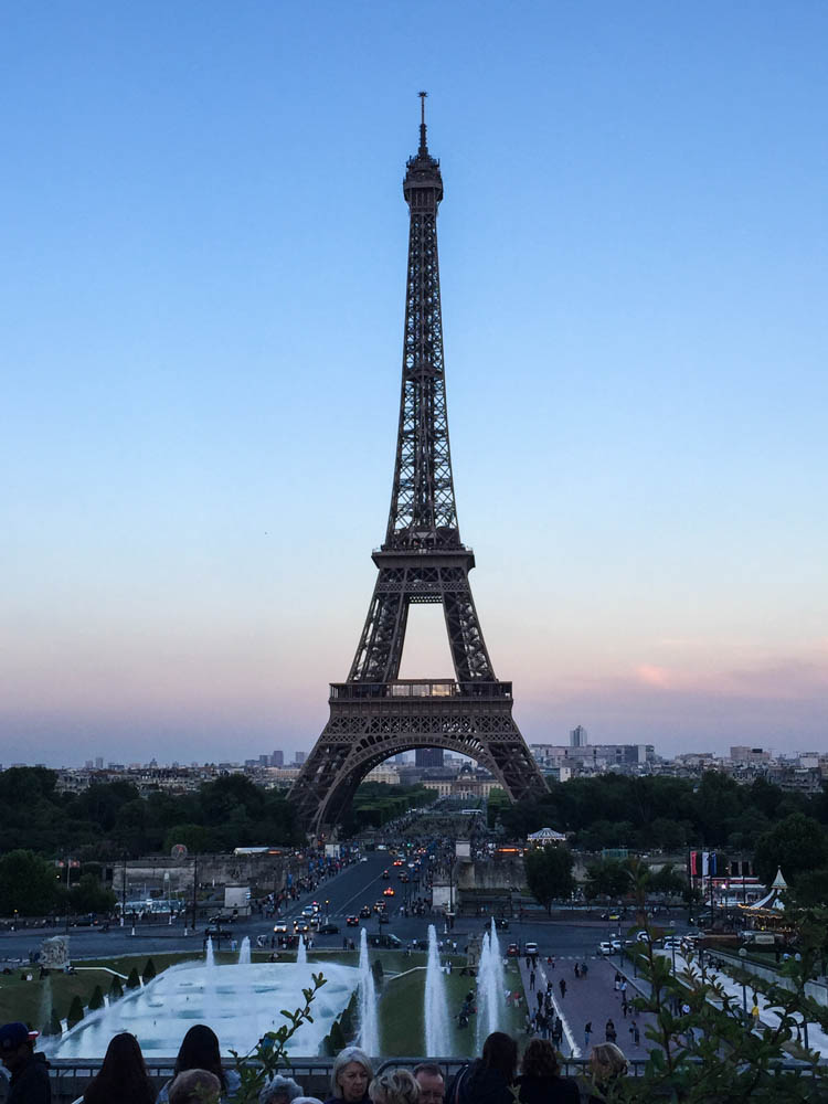 The Eiffel Tower as the sun sets. Quite a remarkable view
