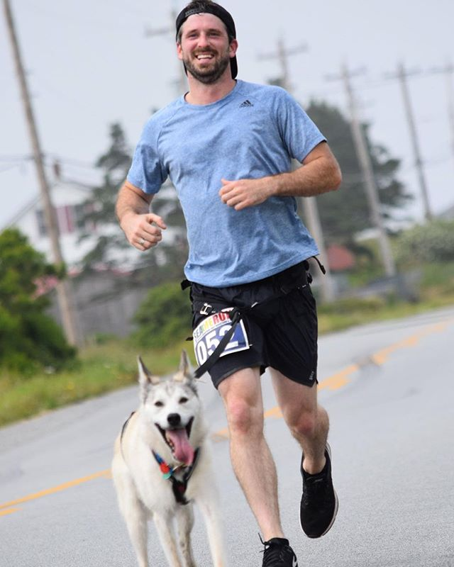 My buddy Jerry showing that nothing is impossible running 42 KMs to be the first dog to ever run a registered marathon in Canada.