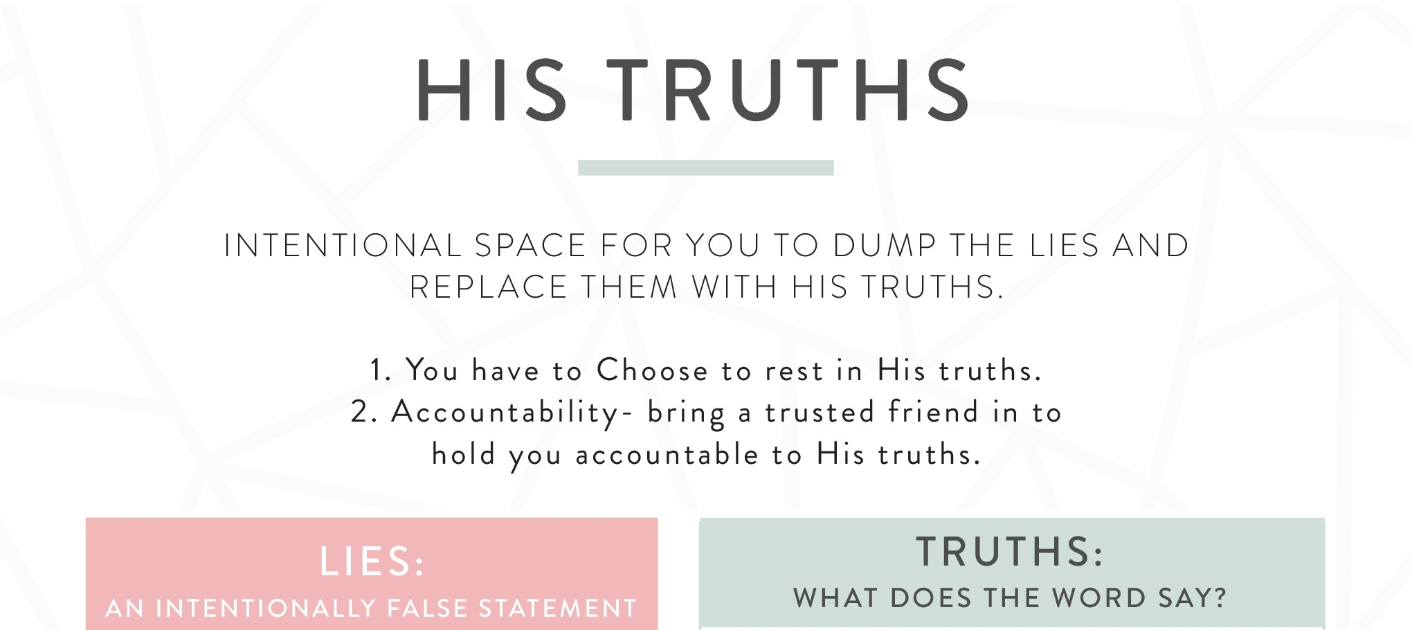 """sign up below to receive your free """"His Truths"""" worksheet! -"""