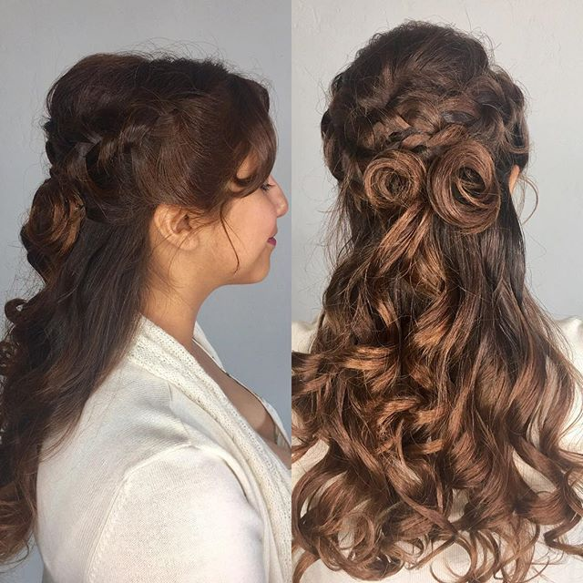 Beauty and Beast inspired prom style! #hermosasalonokc #hermosaedmond #edmond #longhairdontcare #haircrush #curlyhair @hermosa.salon