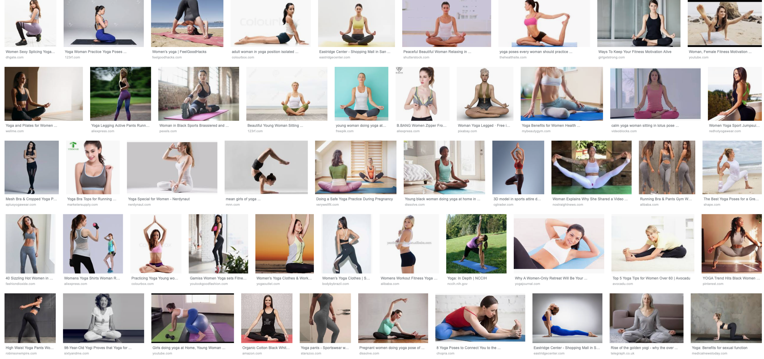 """A screenshot of top Google image search for the words """"yoga"""" and """"woman"""""""