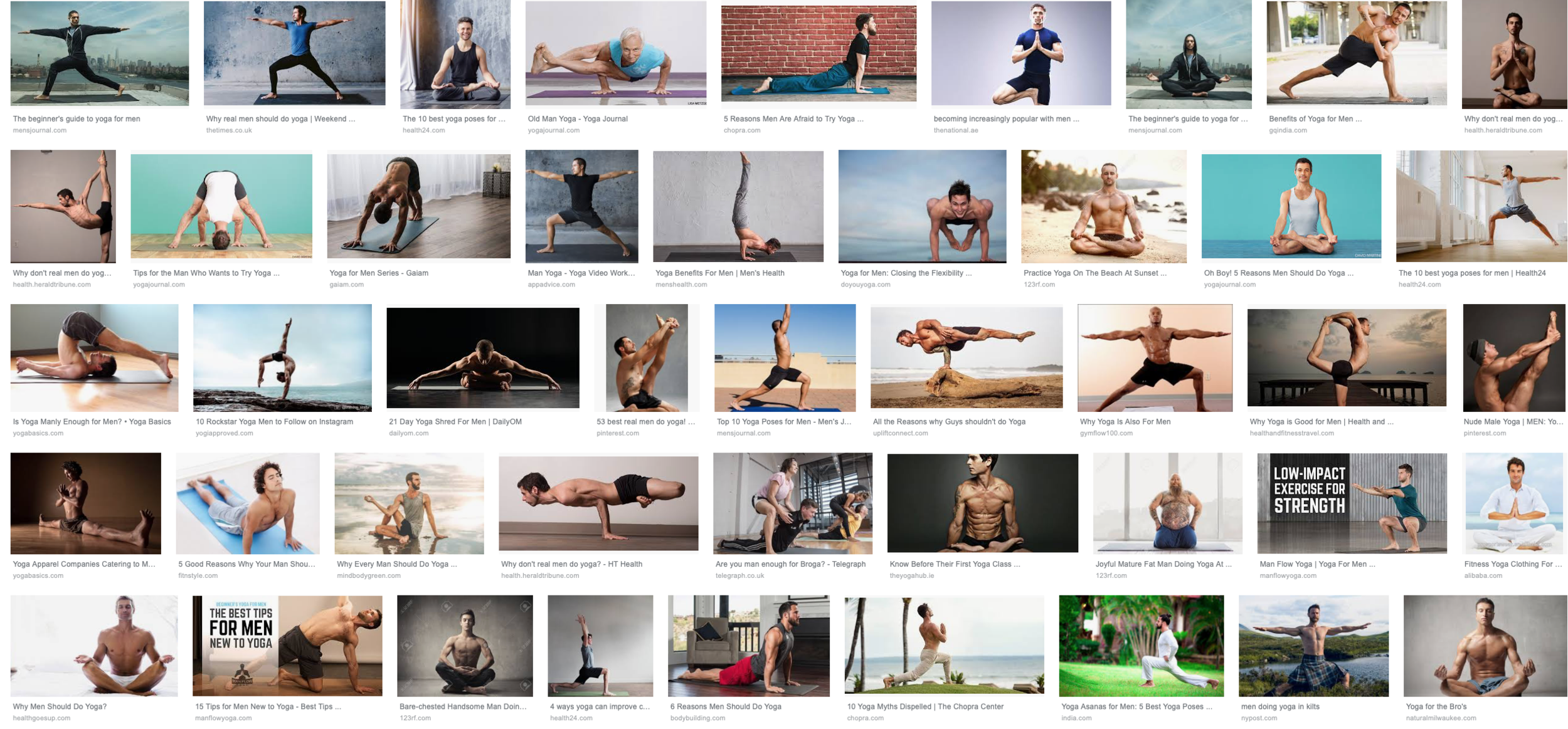 """A screenshot of top Google image search for the words """"yoga"""" and """"man"""""""