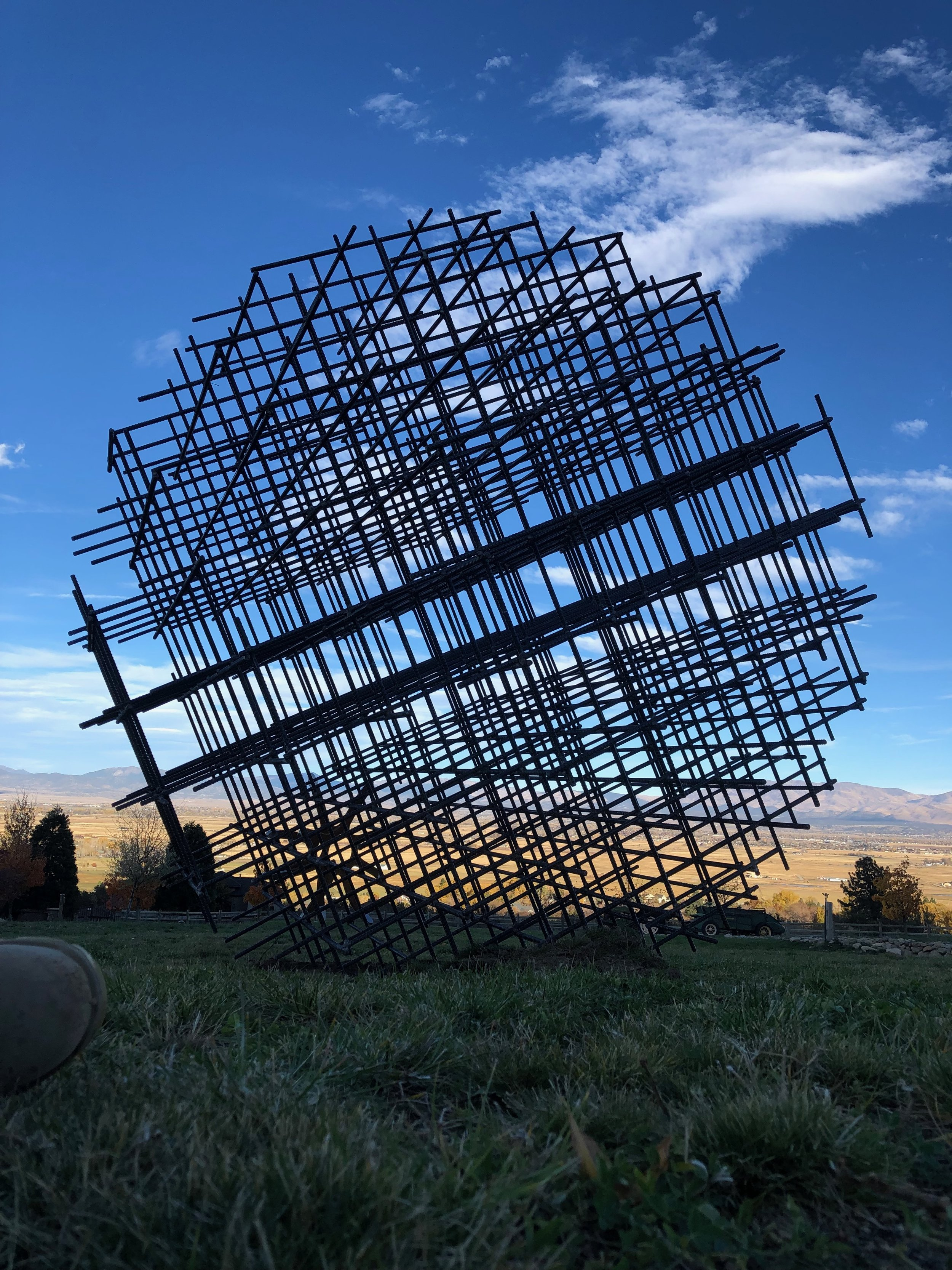Atom Rebar Sphere permanently installed at Buffalo Creek Sculpture park Summer 2018