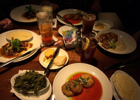 Collard greens, grits and biscuits. Yum.