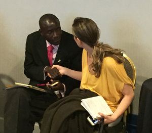 Becoming Us Facilitator Michelle Yorn meets Linos Muvhu from SPANS Zimbabwe at PSI in Portland.