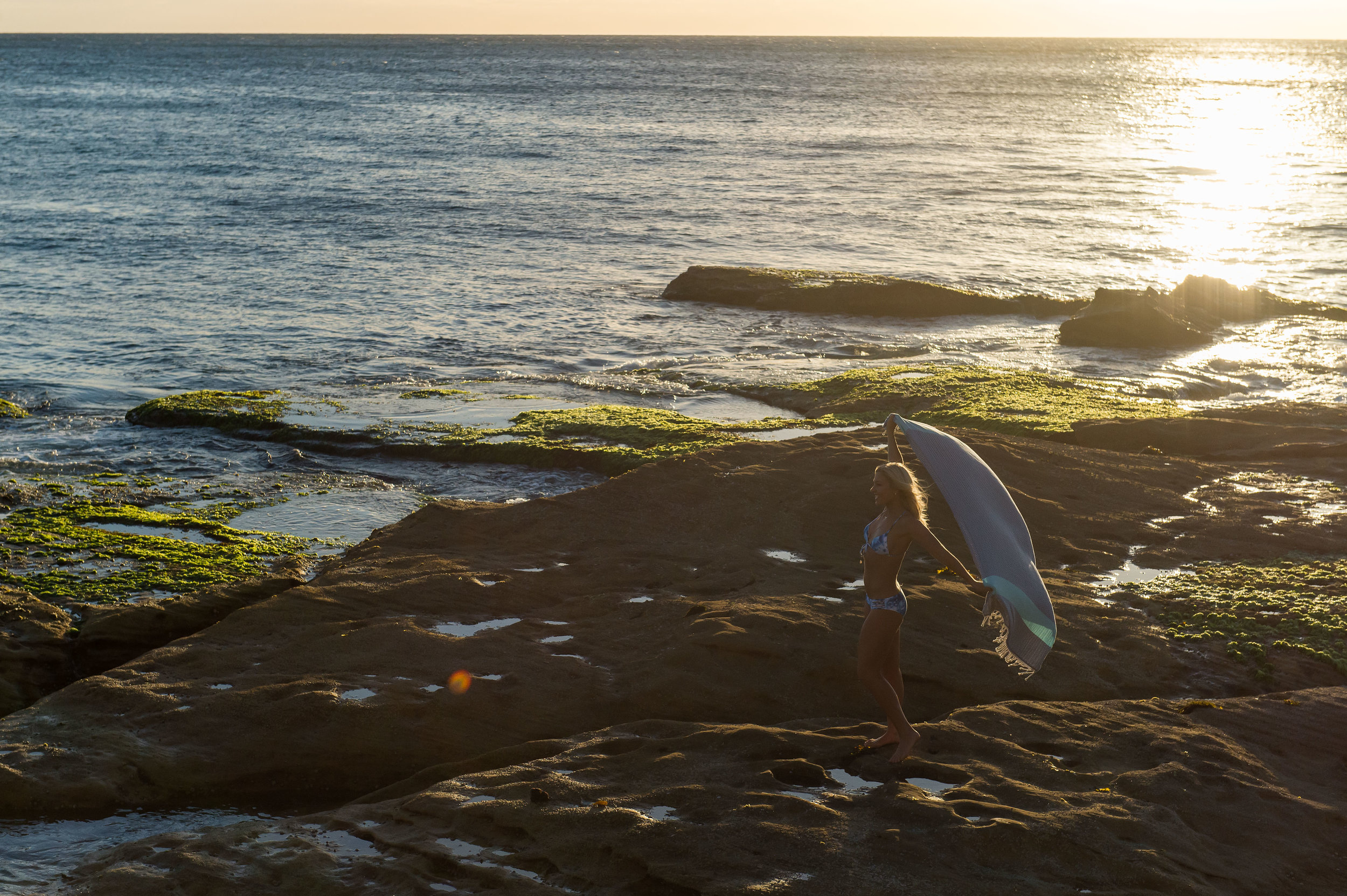 Anna Kooiman Rock Hopping and Bondi in Blue Bikini