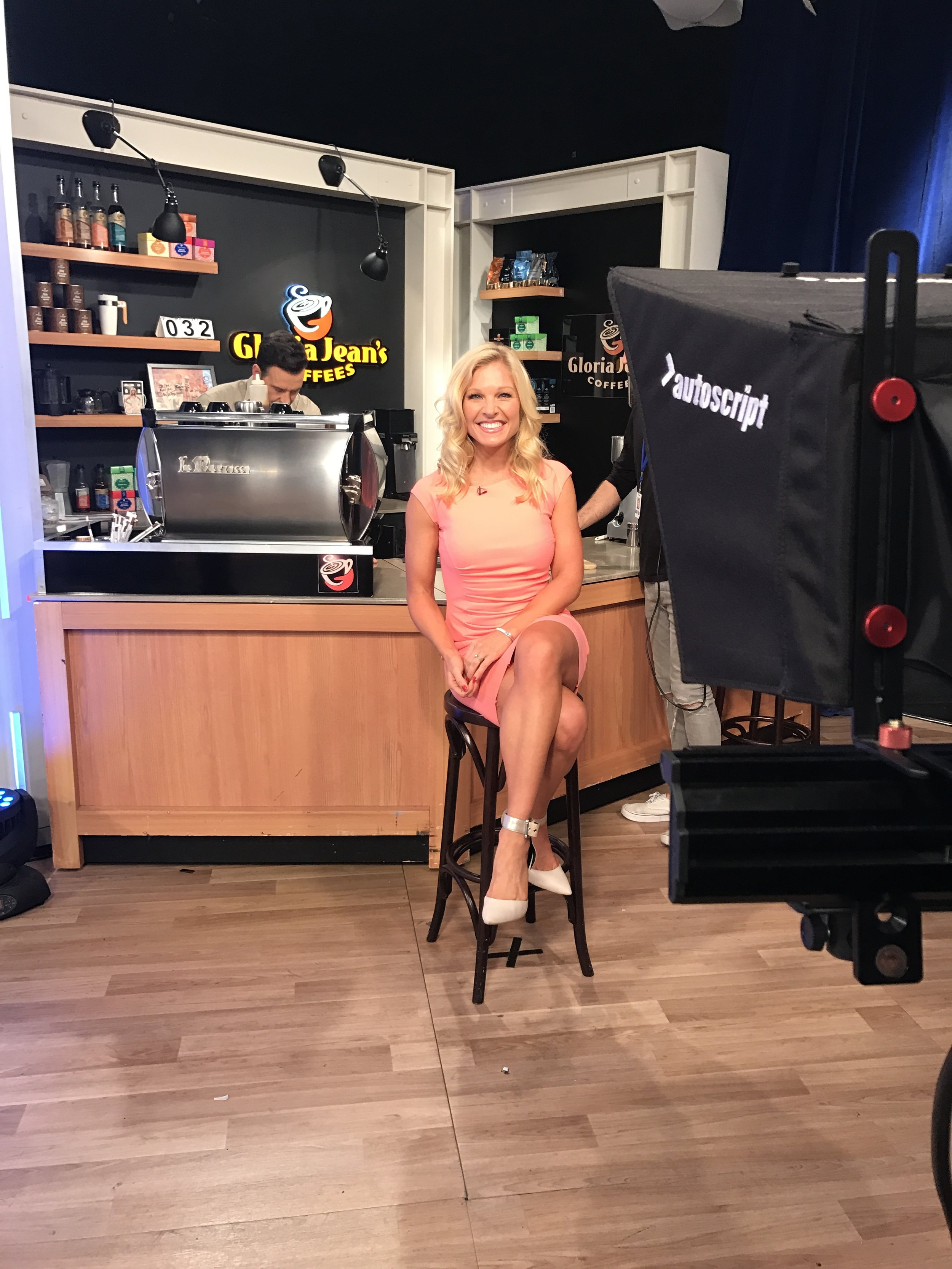 Anna Kooiman Australia TV Morning News Studio 10 Network 10 peach dress aldo ankle strap pumps michael kors latch bracelet, screw glitzy earrings