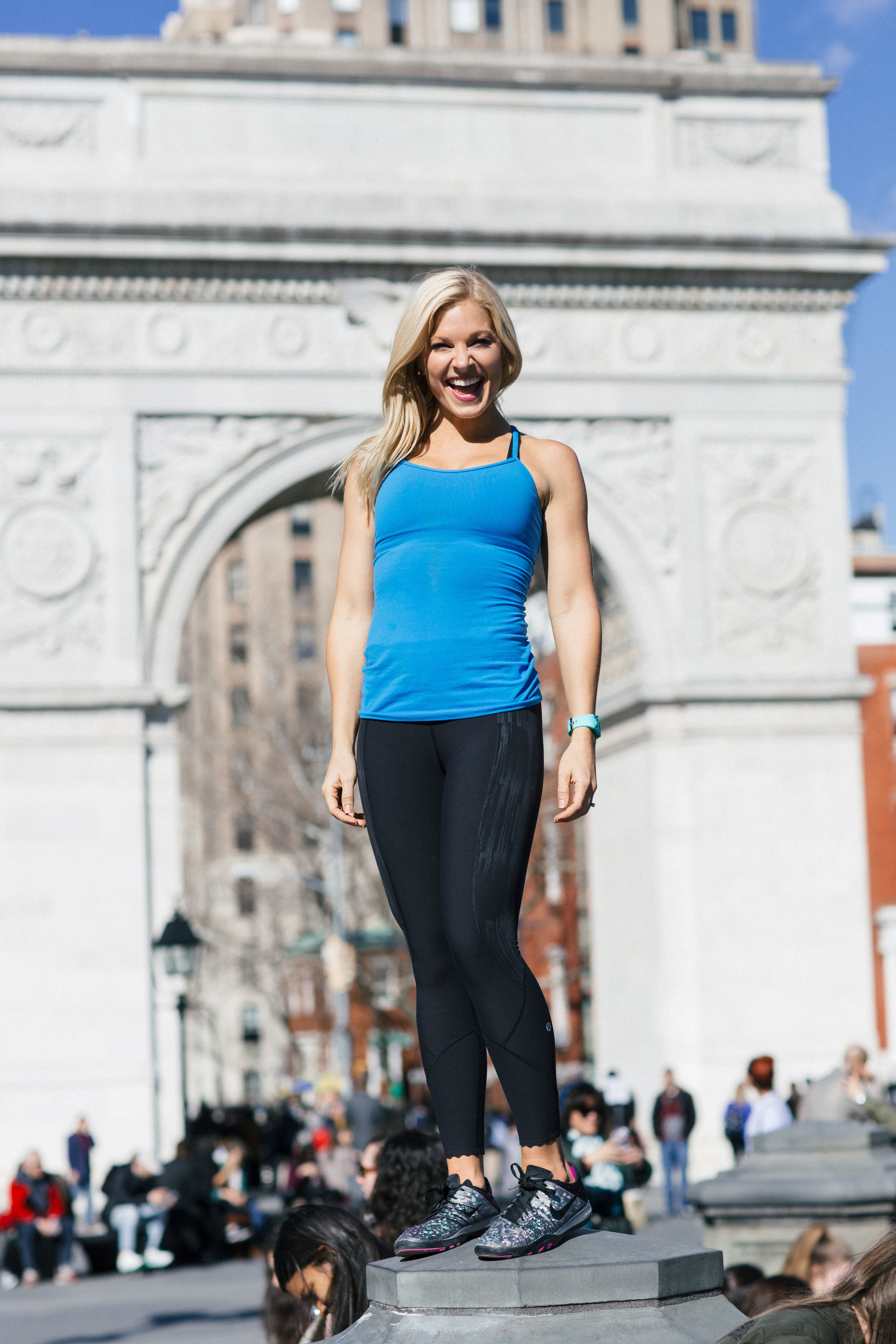 Anna Kooiman New York City Fitness Washington Square Park Standing on Fountain Lydia Hudgens