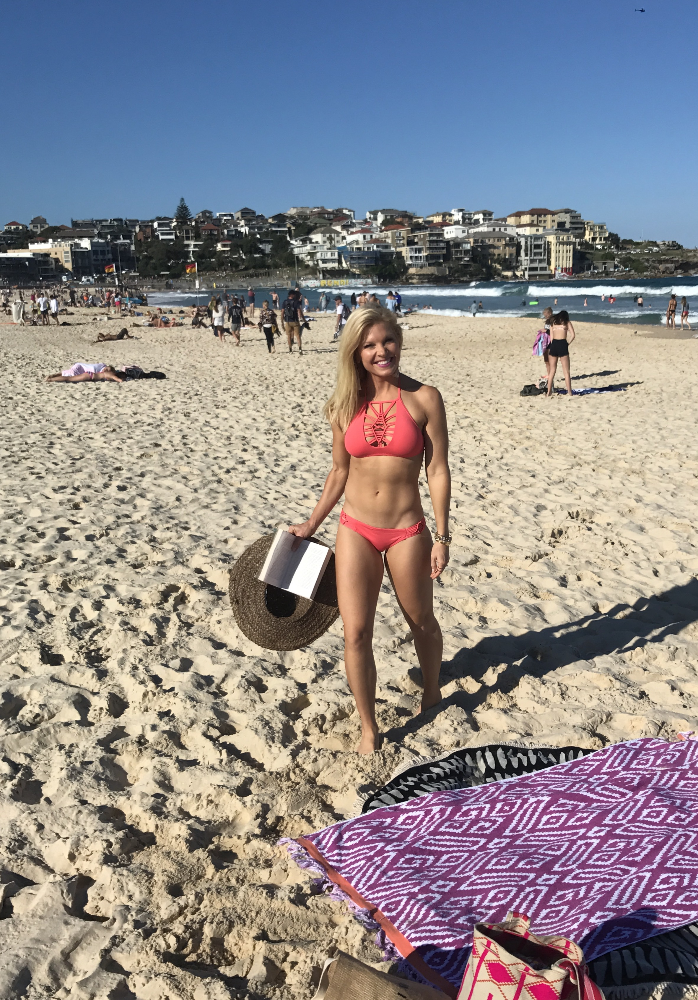 Anna Kooiman Bondi Beach Bikini Lattice Crochet Coral Red May 2017