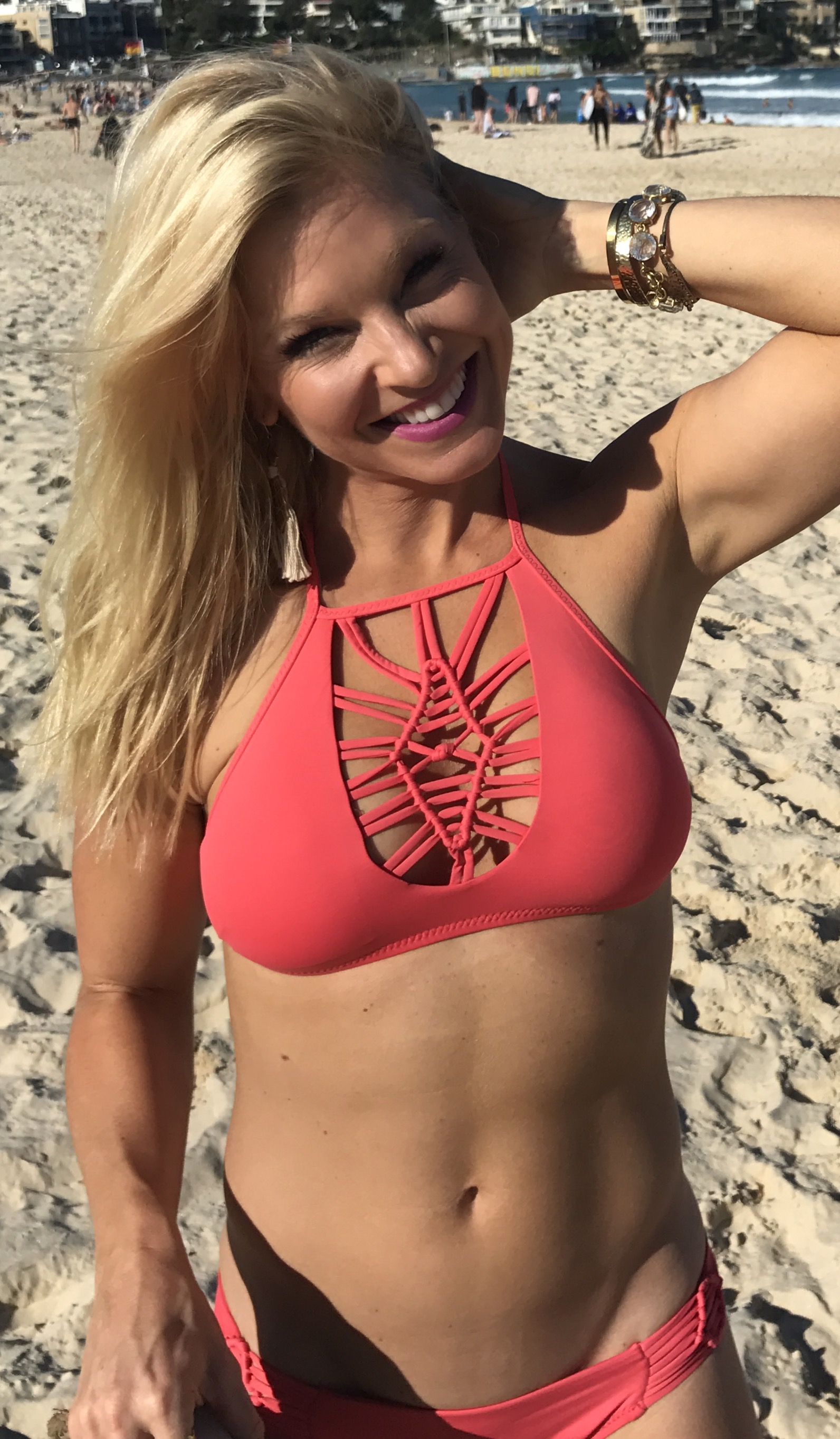 Anna Kooiman Bondi Beach Bikini Coral Lattice Crochet May 2017 Everything But Water