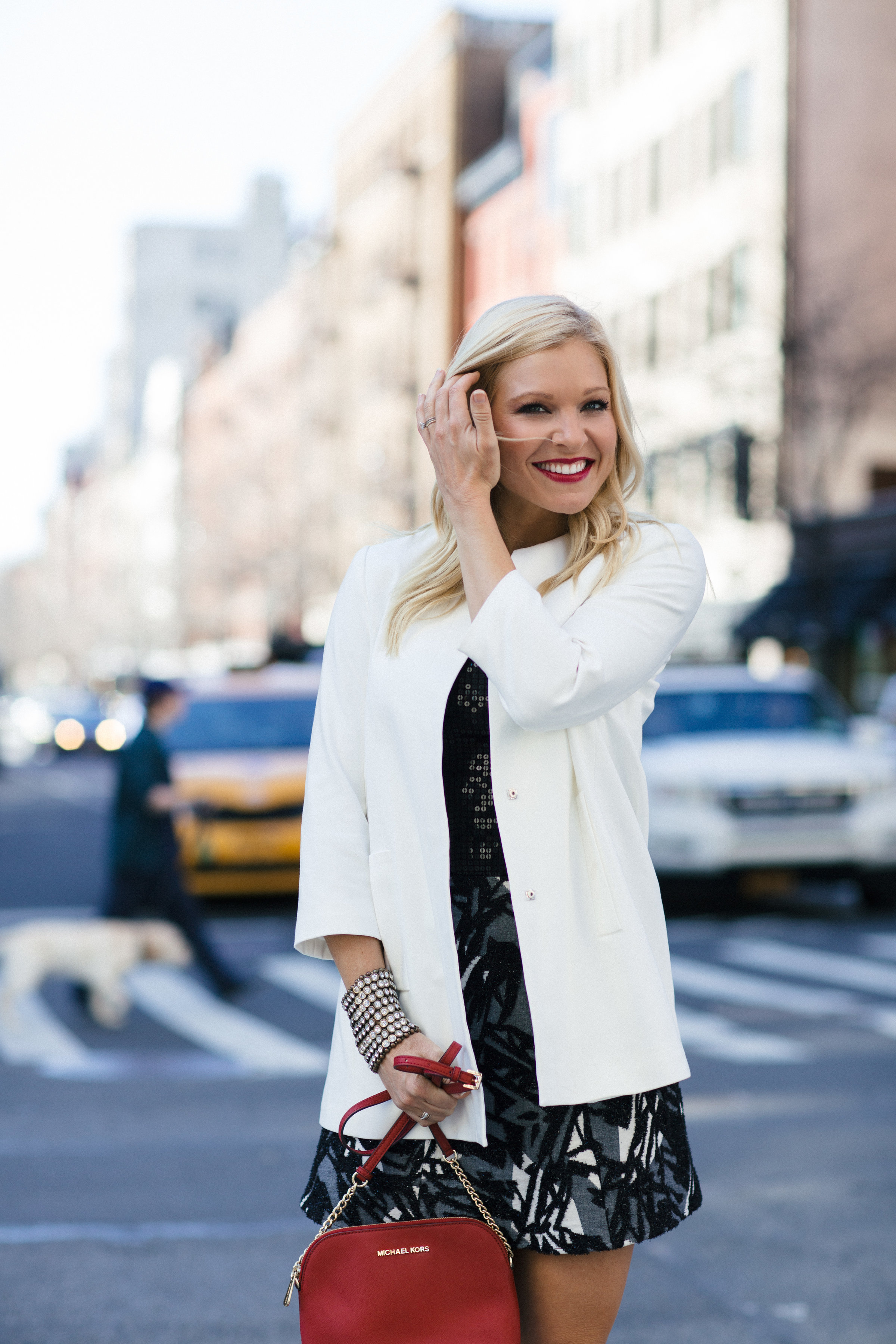 Anna Kooiman New York City Lydia Hudgens white jacket black sequin top AnnaKooiman.com fitness travel lifestyle