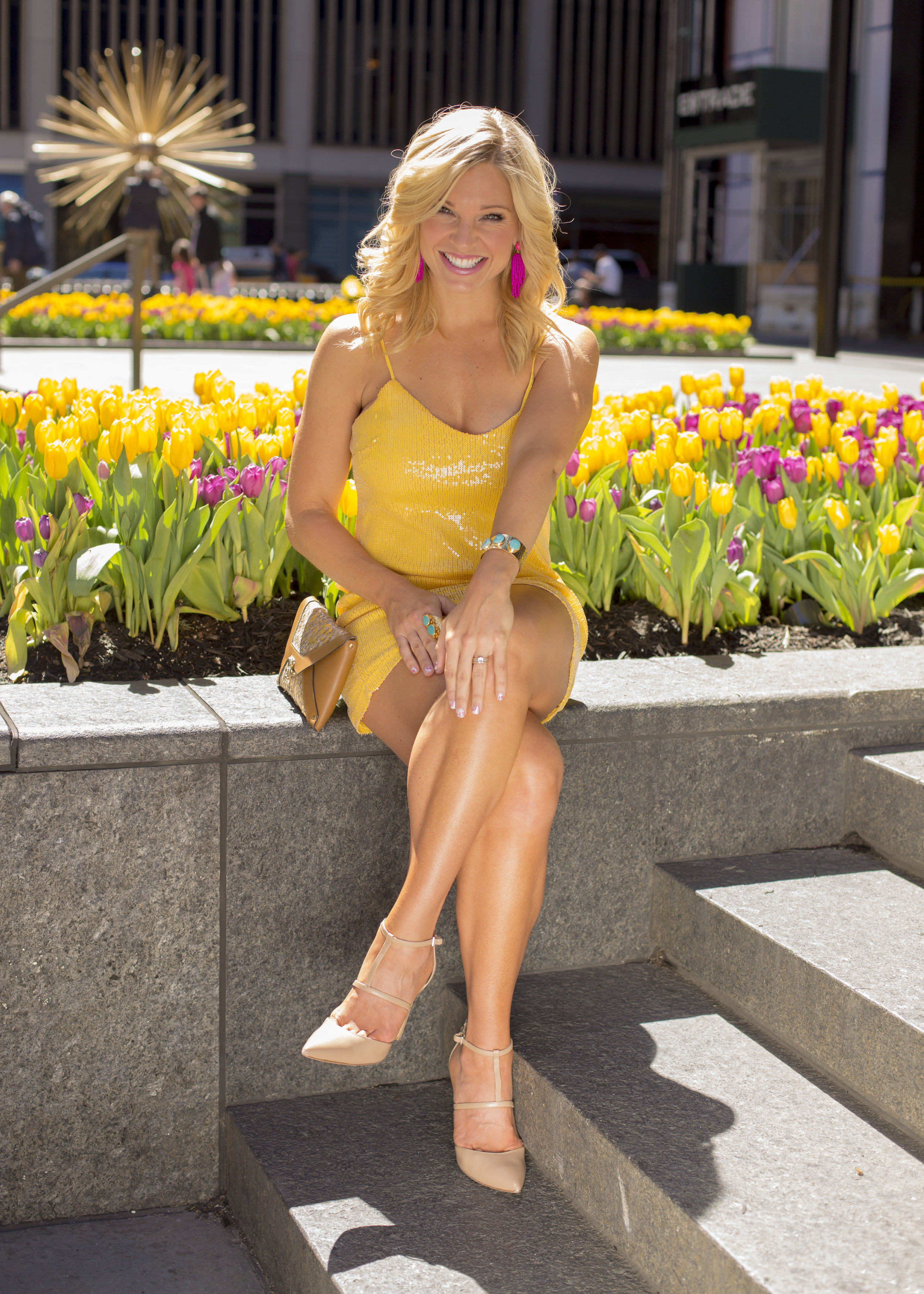 Anna Kooiman yellow dress new york city april 2018