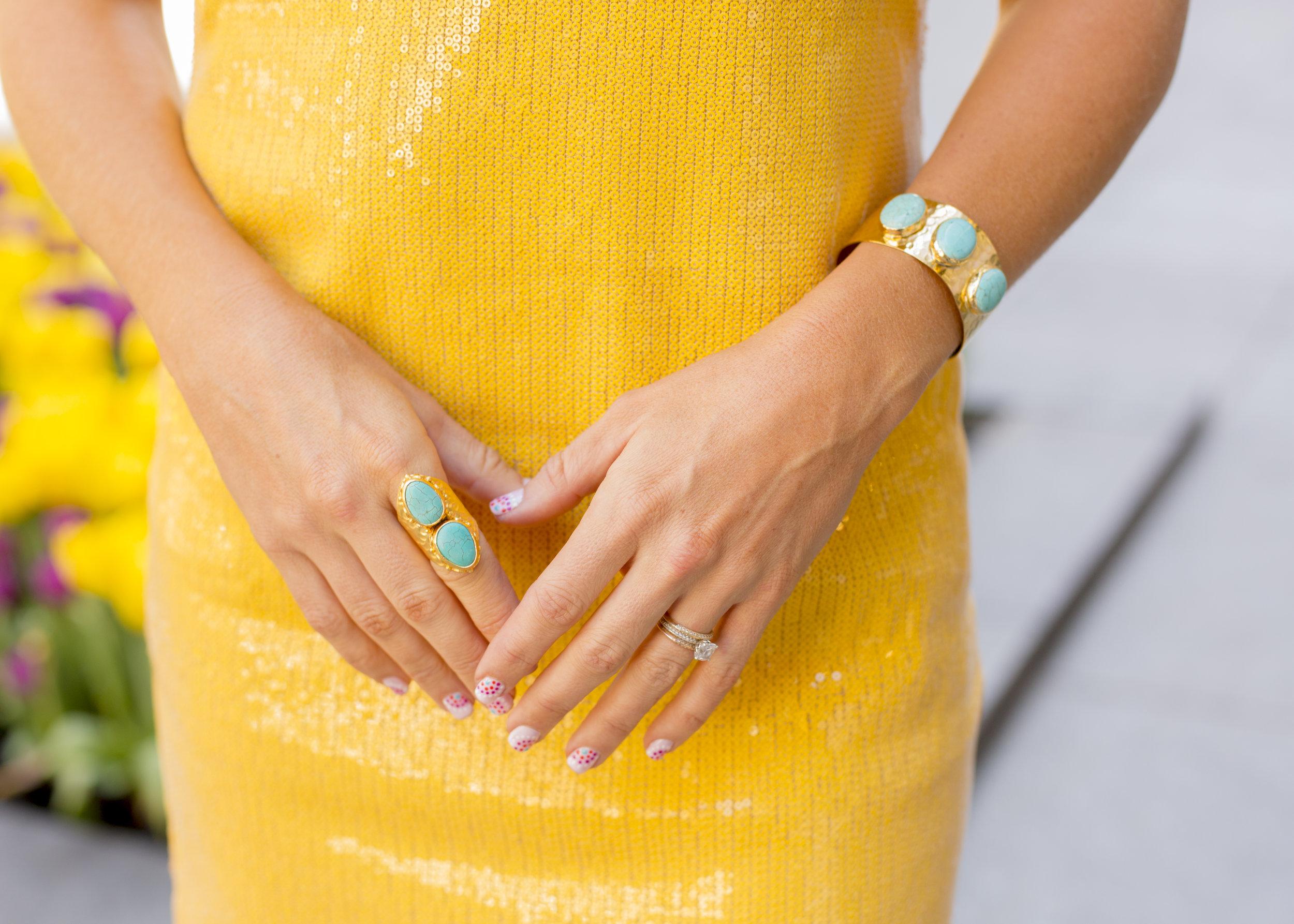 Anna Kooiman New York City Yellow Sequin Dress Fashion April 2018