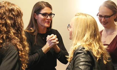 Talking with Melissa Etheridge backstage at the 2015 Women Grow Leadership Summit.