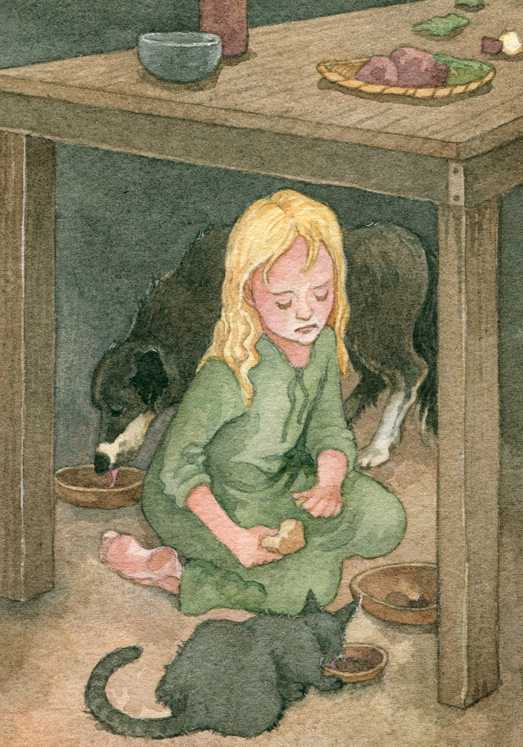 Cosette ate under the table with the dog and the cat.