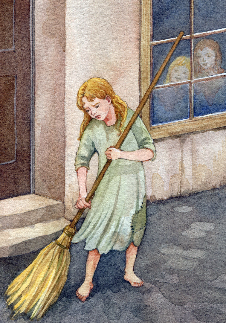 She was a miserable sight to see in the winter, sweeping the sidewalk before daybreak.