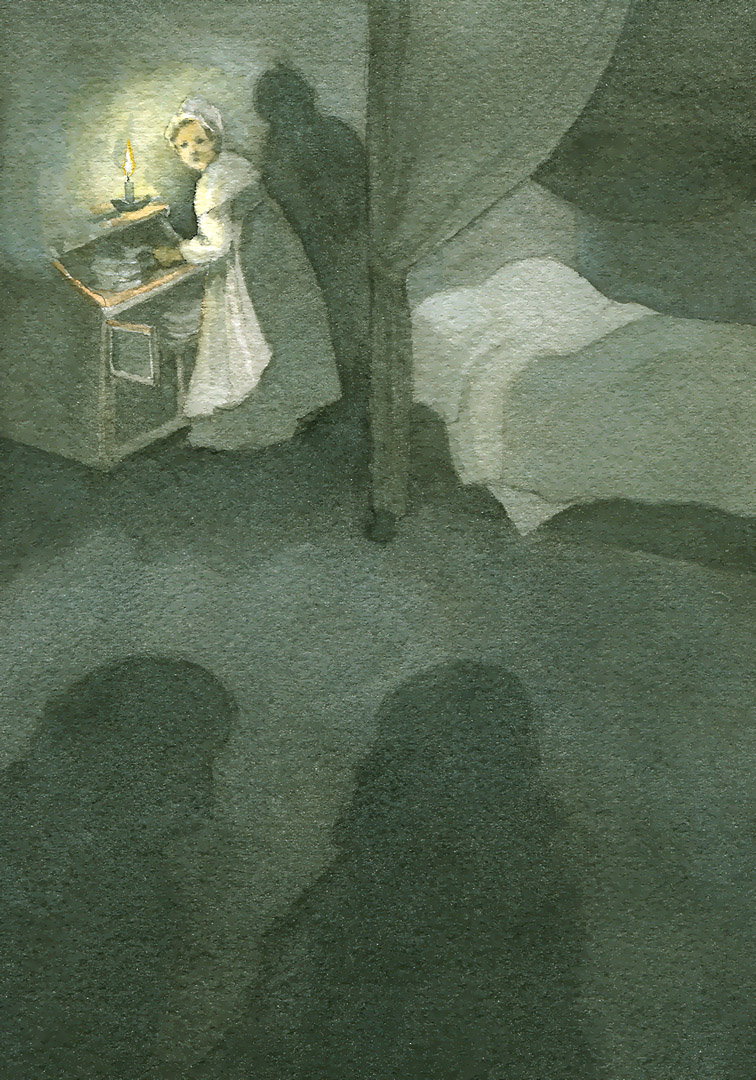 As they passed through the bishop's room, Madame Magloire was putting away the silver in the cupboard behind the bed.