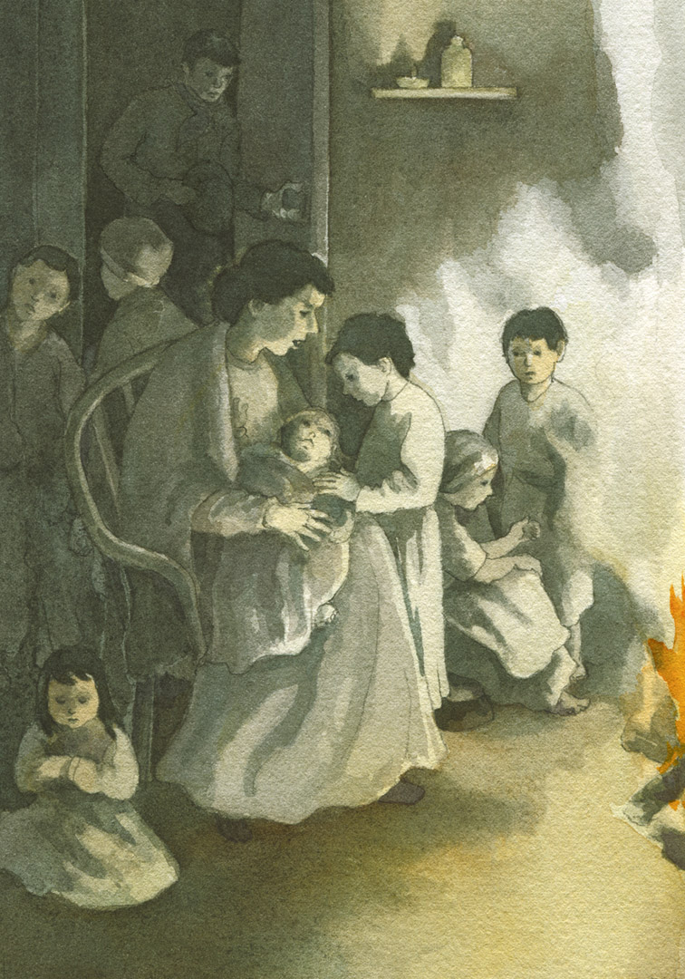 When her husband died, she had seven children ranging in age from one to eight.