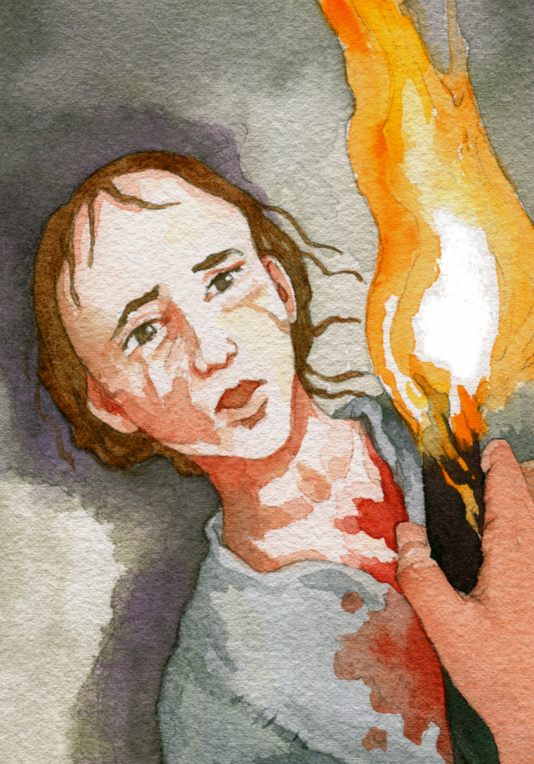 """The bullet entered my chest,"" Eponine said weakly."