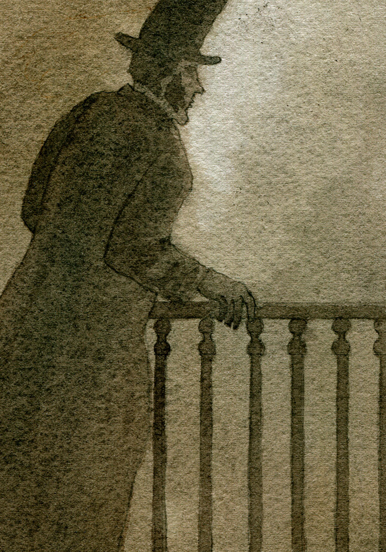 As the man reached the stairs, he turned and Valjean saw his profile!