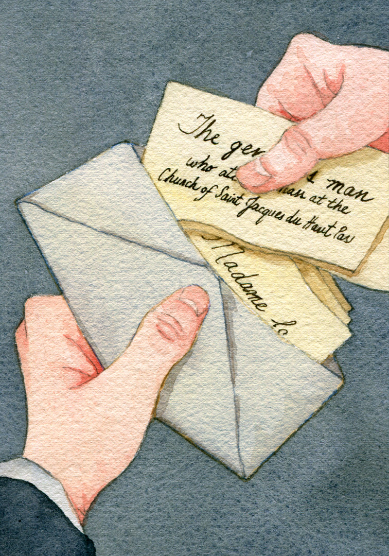 Back in his room, he took out the envelope that he had found.