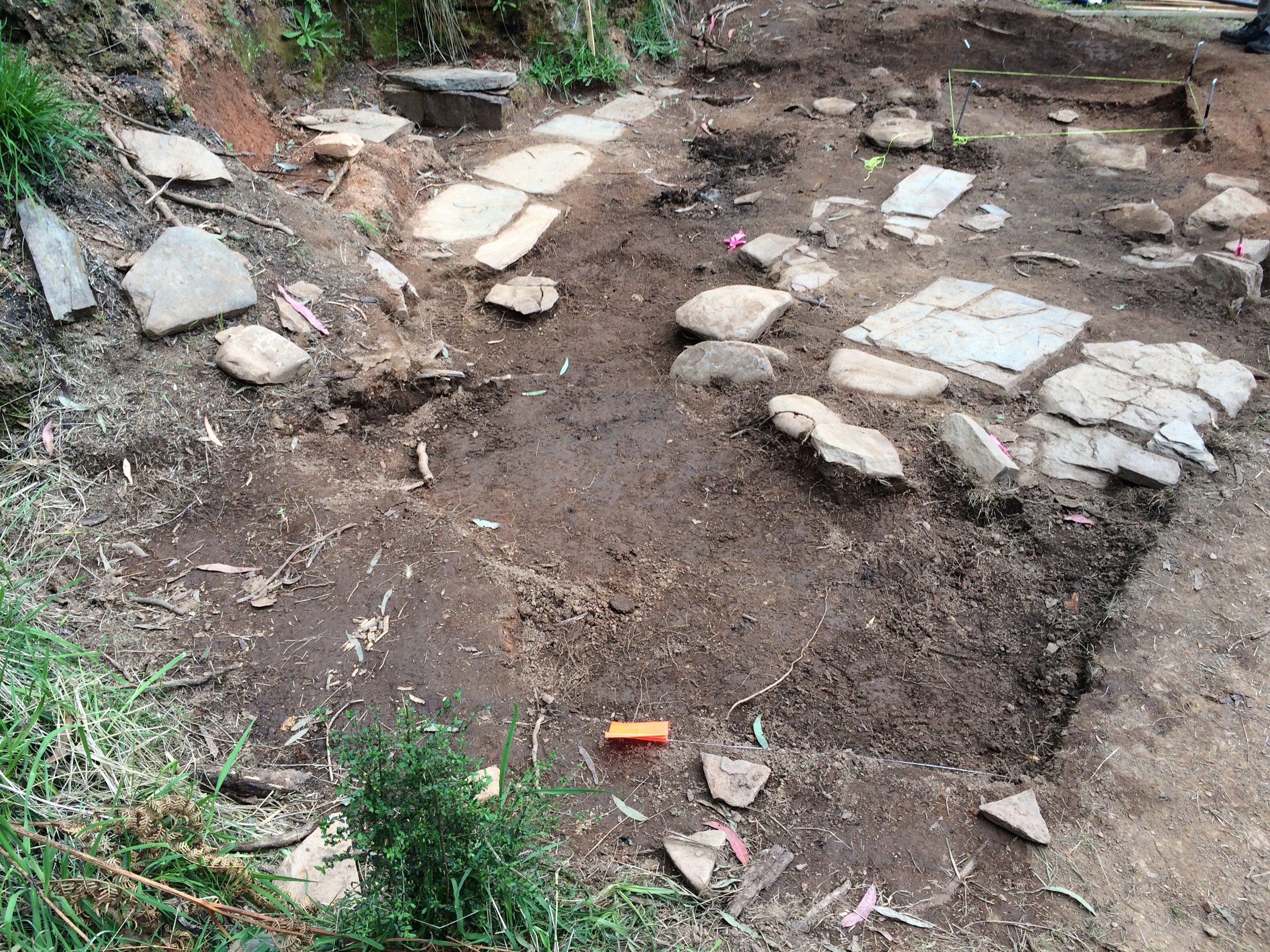 Extensive stone flagging at Stone Feature 1 (SF1) site (photo: Paul Macgregor)