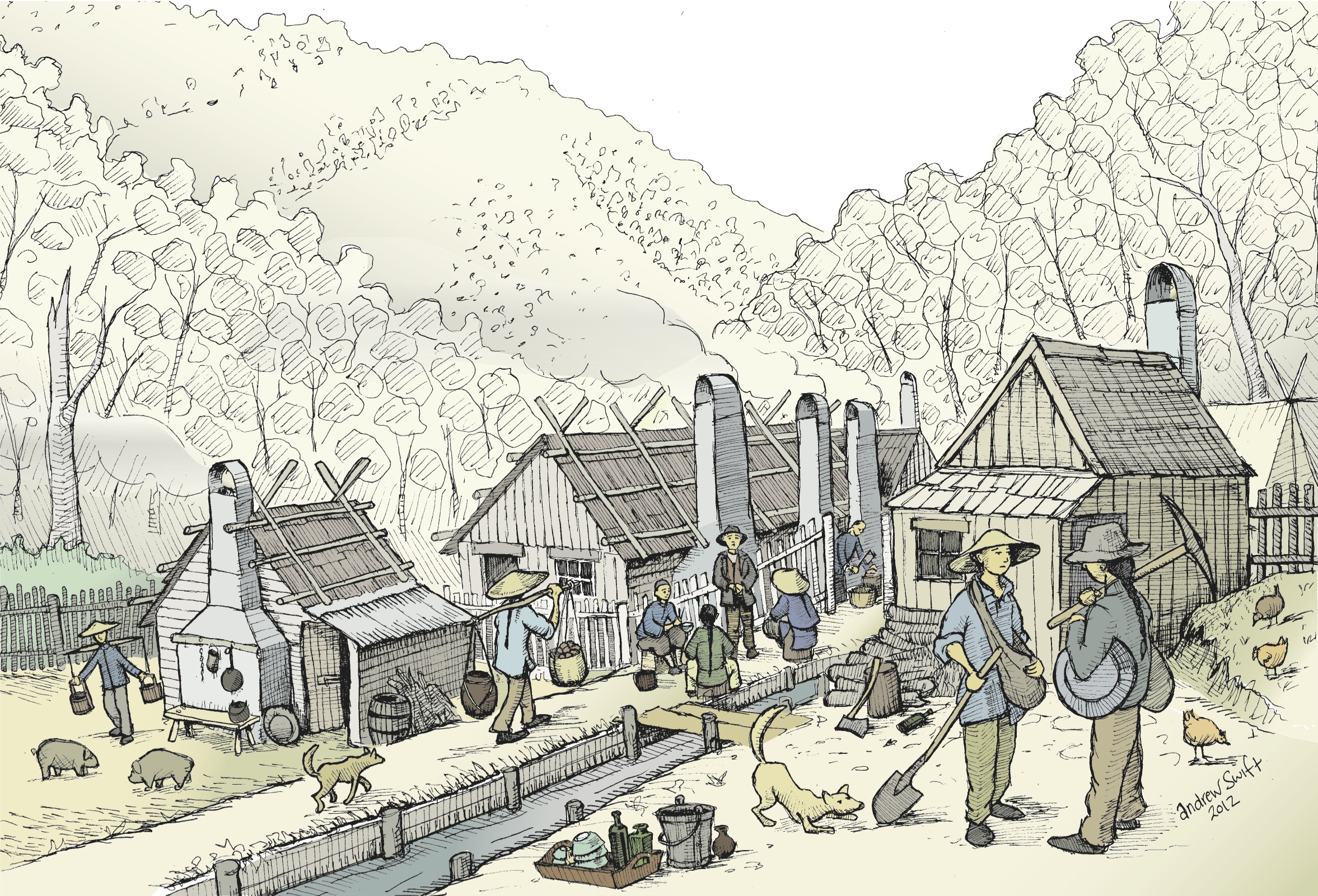 Speculative reconstruction of part of the Harrietville Chinese Village (illustration: Andrew Swift)