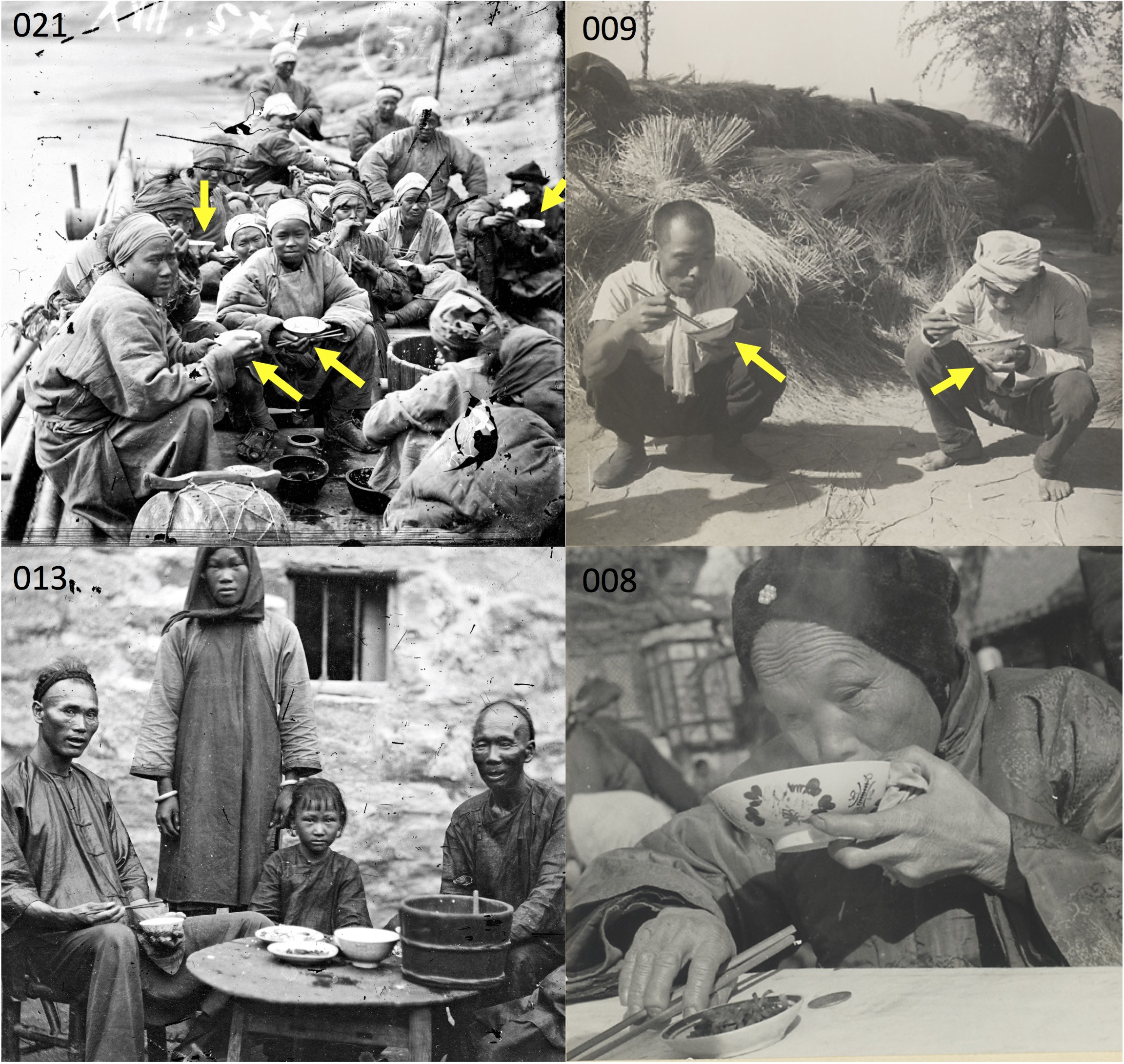 Chinese food eating, contexts 1 and 2—one or two dishes of food, eating with large bowl, with or without a table. Image 021: Boatmen on Upper Yangtze River, 1871 (photo by John Thomson ca 1871). Image 009: Farmworkers eating, near Beijing, ca 1933–1946 (Hedda Morrison ca 1933–1946c). Image 013: A poor family, Canton, 1869 (John Thomson 1869). Image 008: Woman eating at food vendor's stand, near Beijing, ca 1933–1946 (Hedda Morrison ca 1933–1946b). [Web sources for images are listed in article]