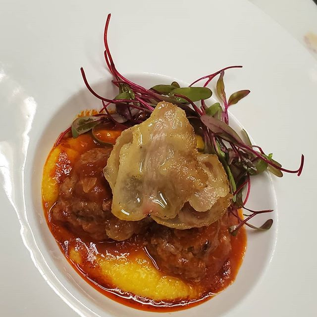 Polenta, buffalo polpette  topped with crispy guanciale