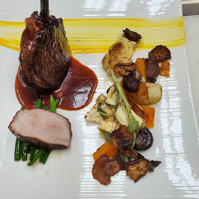 Smoked pork chop, braised vegetables