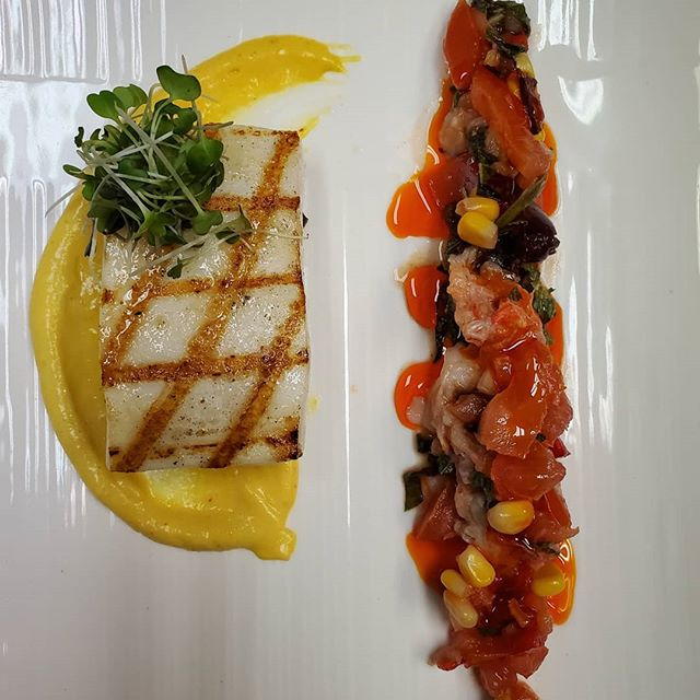 Grilled squid steak, sweet corn mousse, salsa crude with fresh main lobster