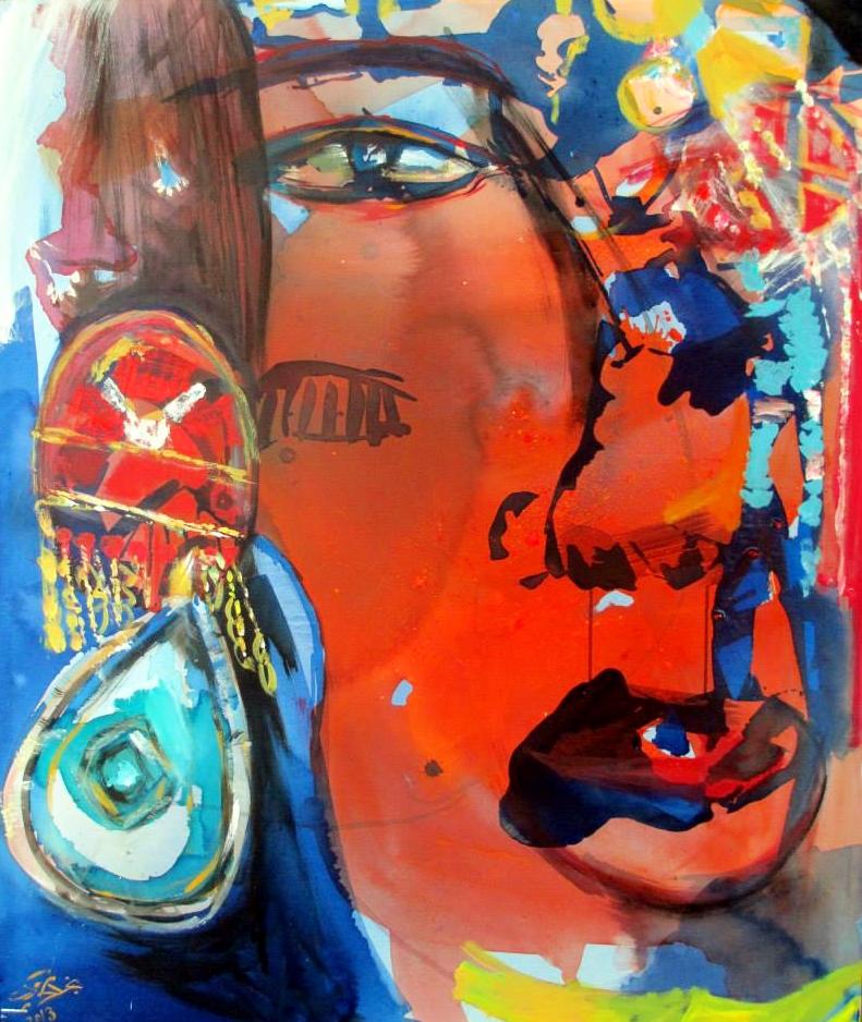 A Face by Najla Shawkat Fitouri. Acrylic on canvas. 2013