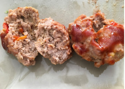 Meatloaf Muffins - Ok, so you all know I'm not so great at cooking & I love easy recipes...this one is super easy! This is the easiest and tastiest meatloaf recipe. I use to make it in a loaf pan but it would either not cook long enough or be too dry....I found a solution, put it in a muffin tin! And yes this recipe is also KID APPROVED!!!Ingredients:-1lb ground Turkey-2tsp Worcestershire sauce-1 egg-1/2 onion finely chopped-1/2 bell pepper, finely chopped (red or yellow)-3 oz shredded cheeseDirections: Preheat oven to 375, spray muffin tin with non stick spray. Mix all ingredients together in a bowl. Divide evenly in the muffin tin. Top with BBQ sauce or your favorite sauce. Bake for 23-25 mins.Makes 12 muffins...serving size is 2