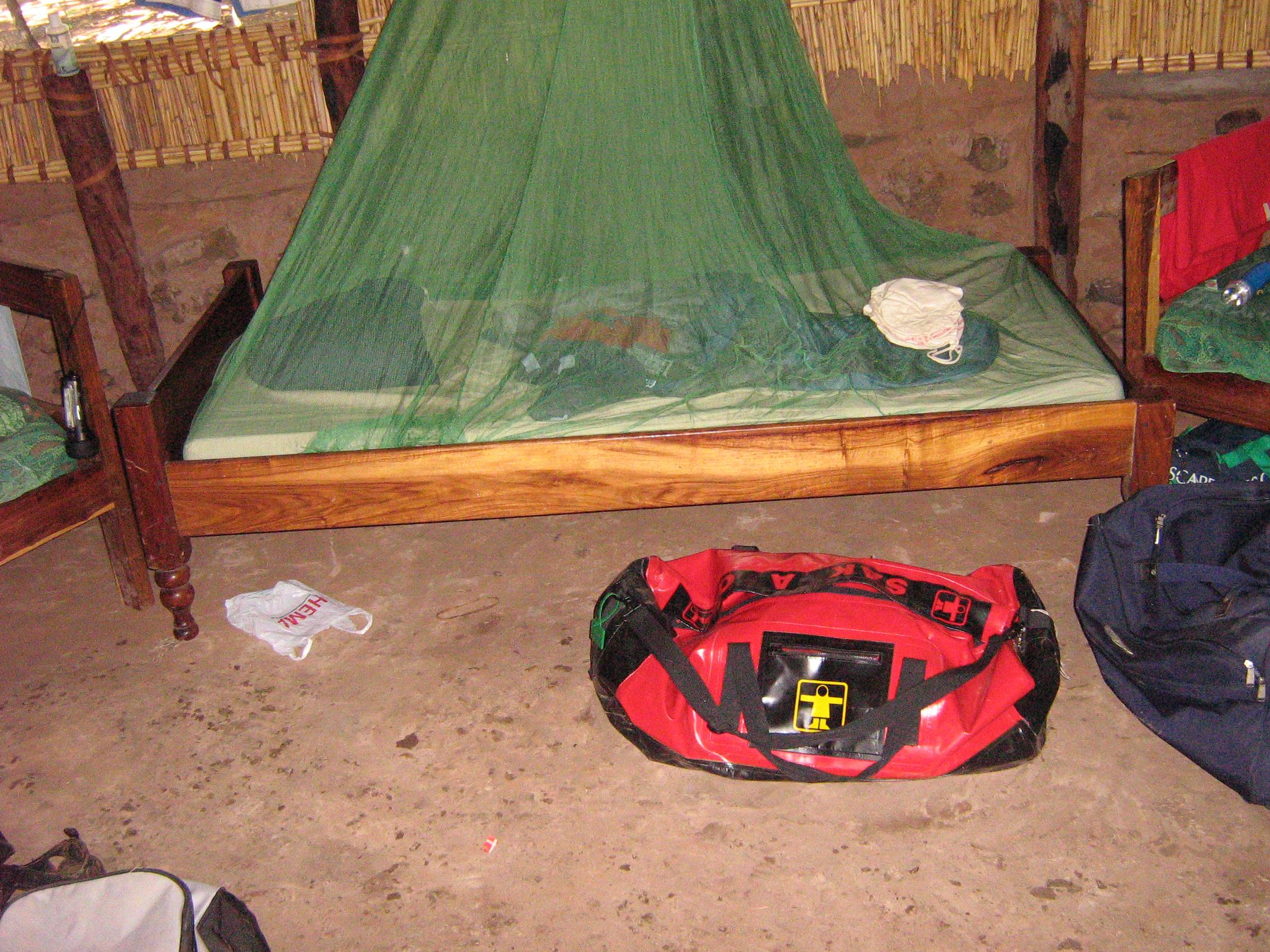 Inside a student round hut