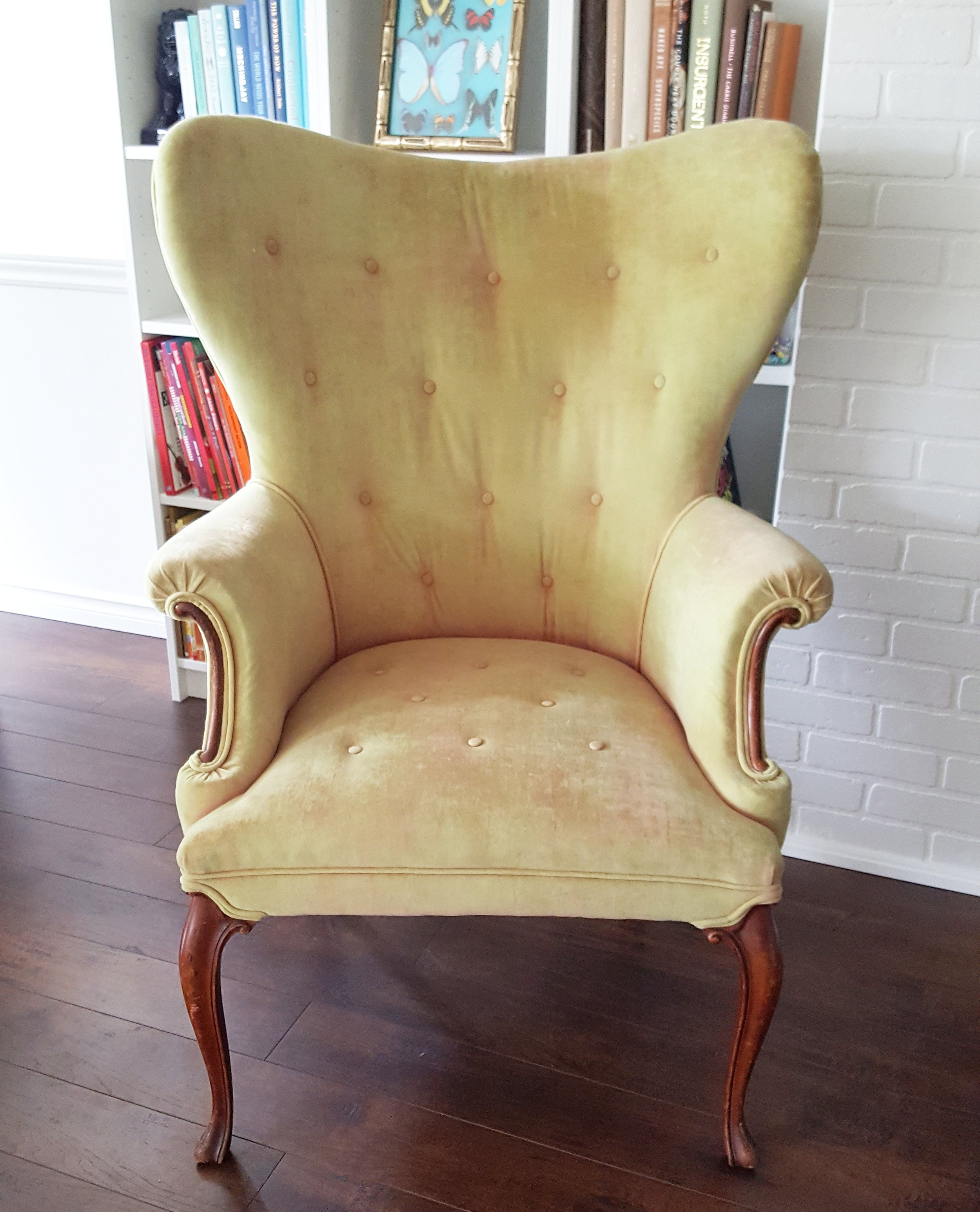 "Antique Wing Chair ""Before"""