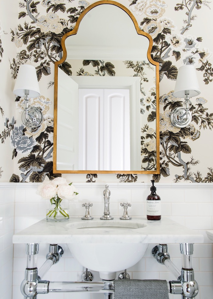 Powder+Room+with+RH+glass+console+sink,+Schumacher+Pyne+Hollyhock+wallpaper,+white+subway+tile,+2_+hex+marble+flooring+&+traditional+styling.jpg