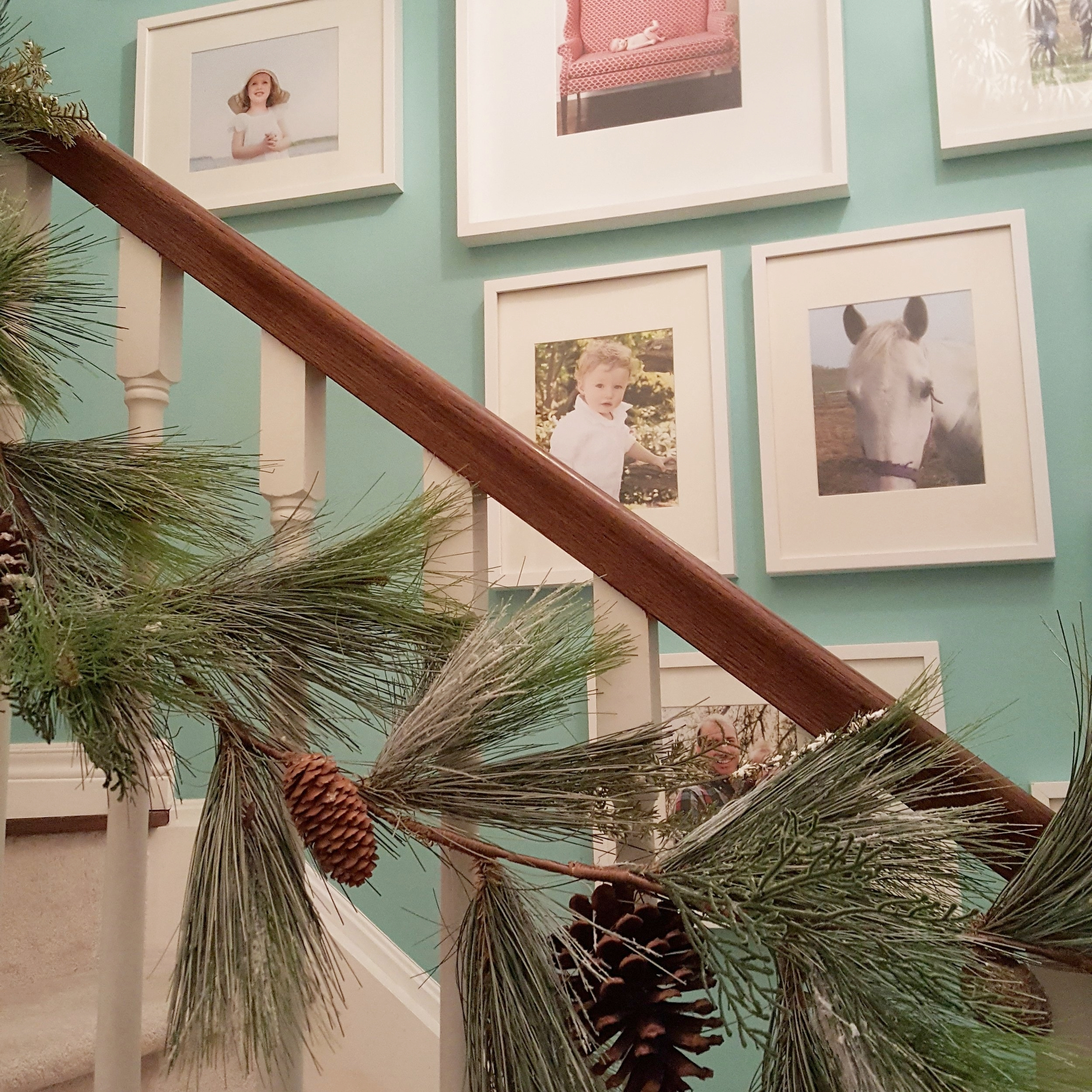 Faux pine garland in our Stairway